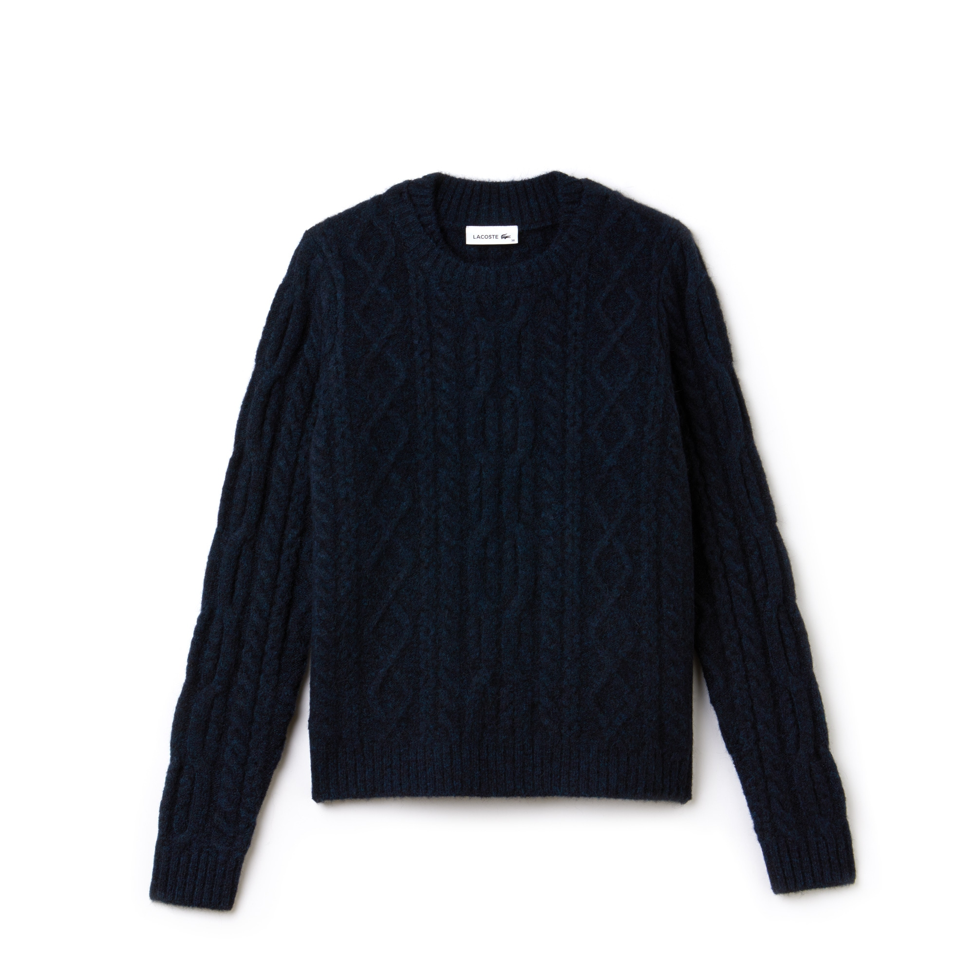 Women's Double Neck Alpaga And Wool Cable Knit Sweater