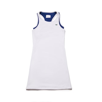 라코스테 Lacoste Womens SPORT Technical Jersey Racerback Tennis Dress,White / Navy Blue