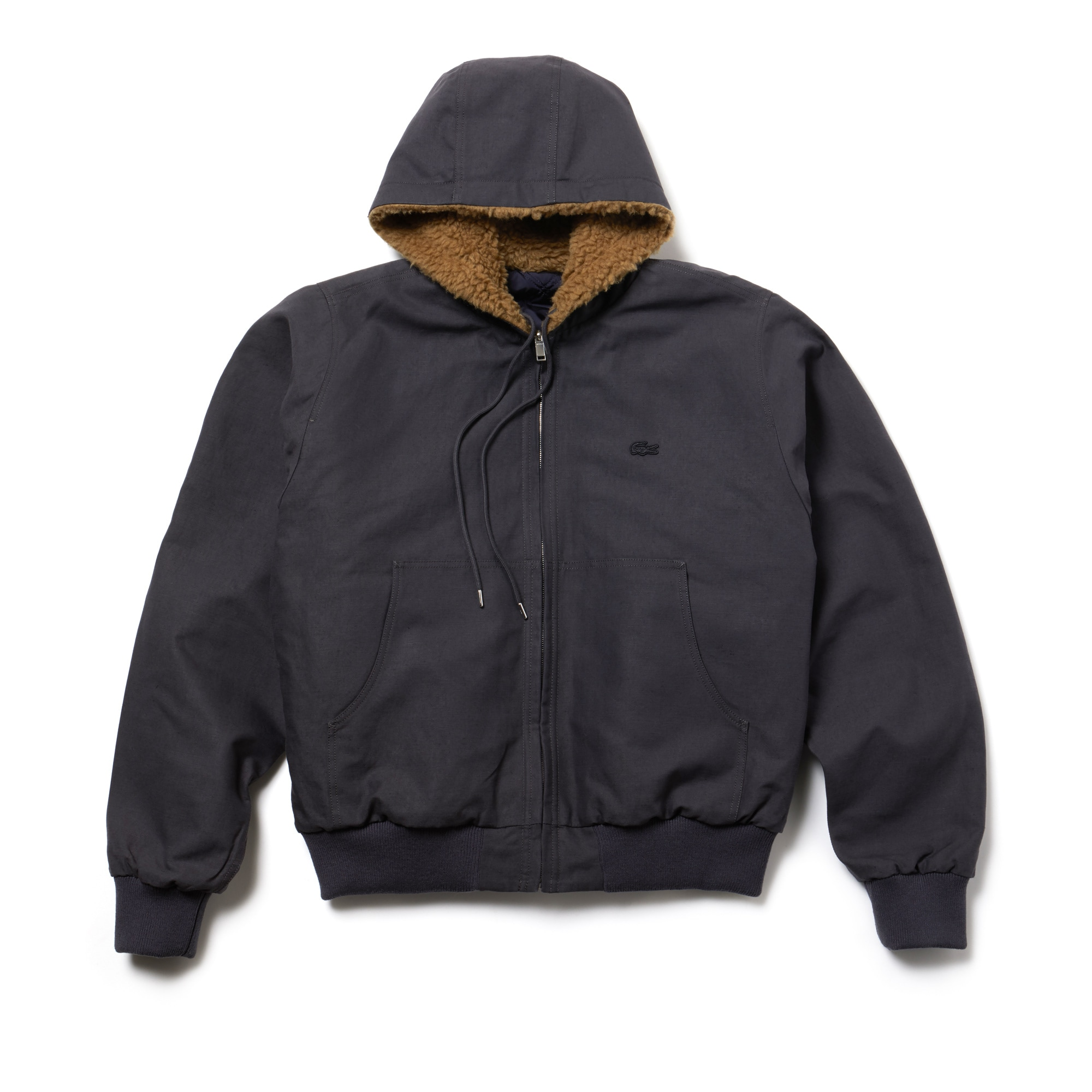 라코스테 Lacoste Mens Fashion Show Reversible Gabardine And Technical Canvas Jacket,GRAPHITE/코스 COSMOS-VILLARSI