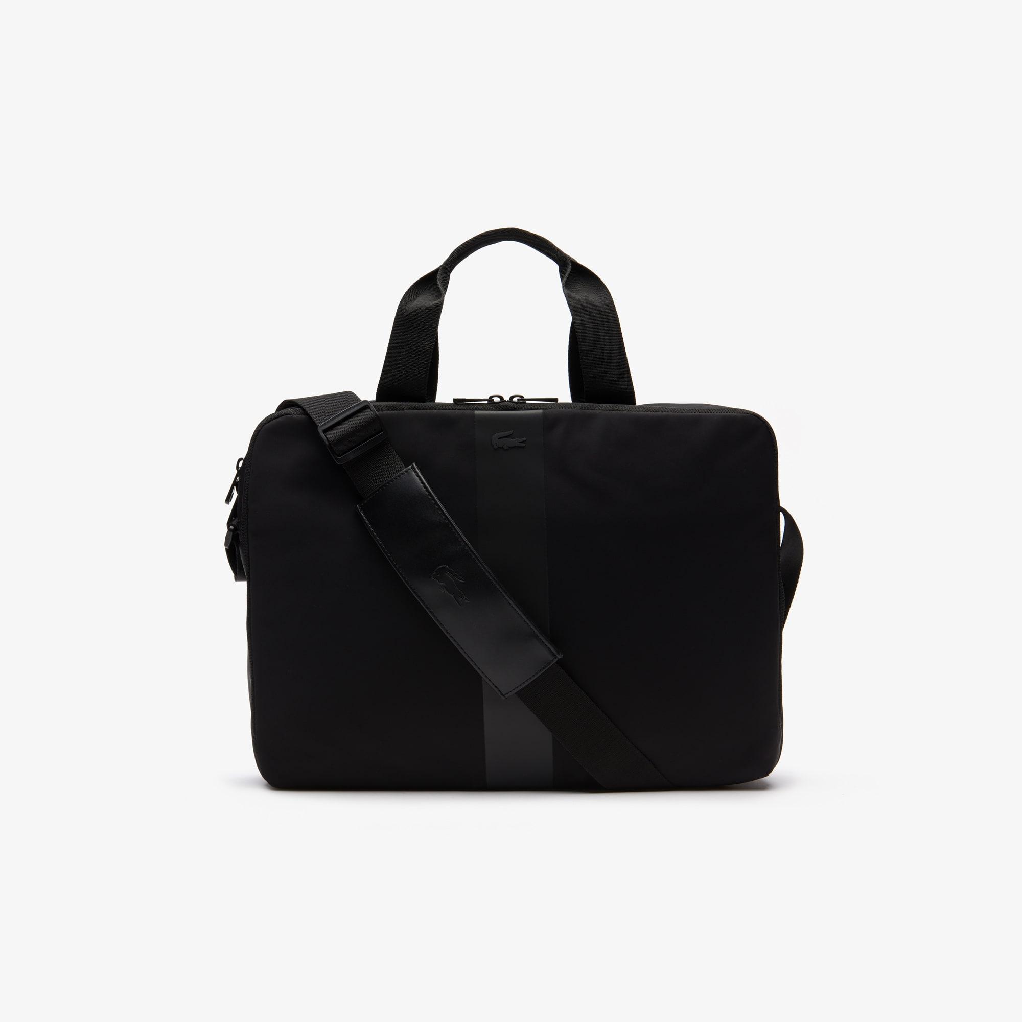 라코스테 Lacoste Mens Urban Trek Contrast Accents Nylon Computer Bag,BLACK