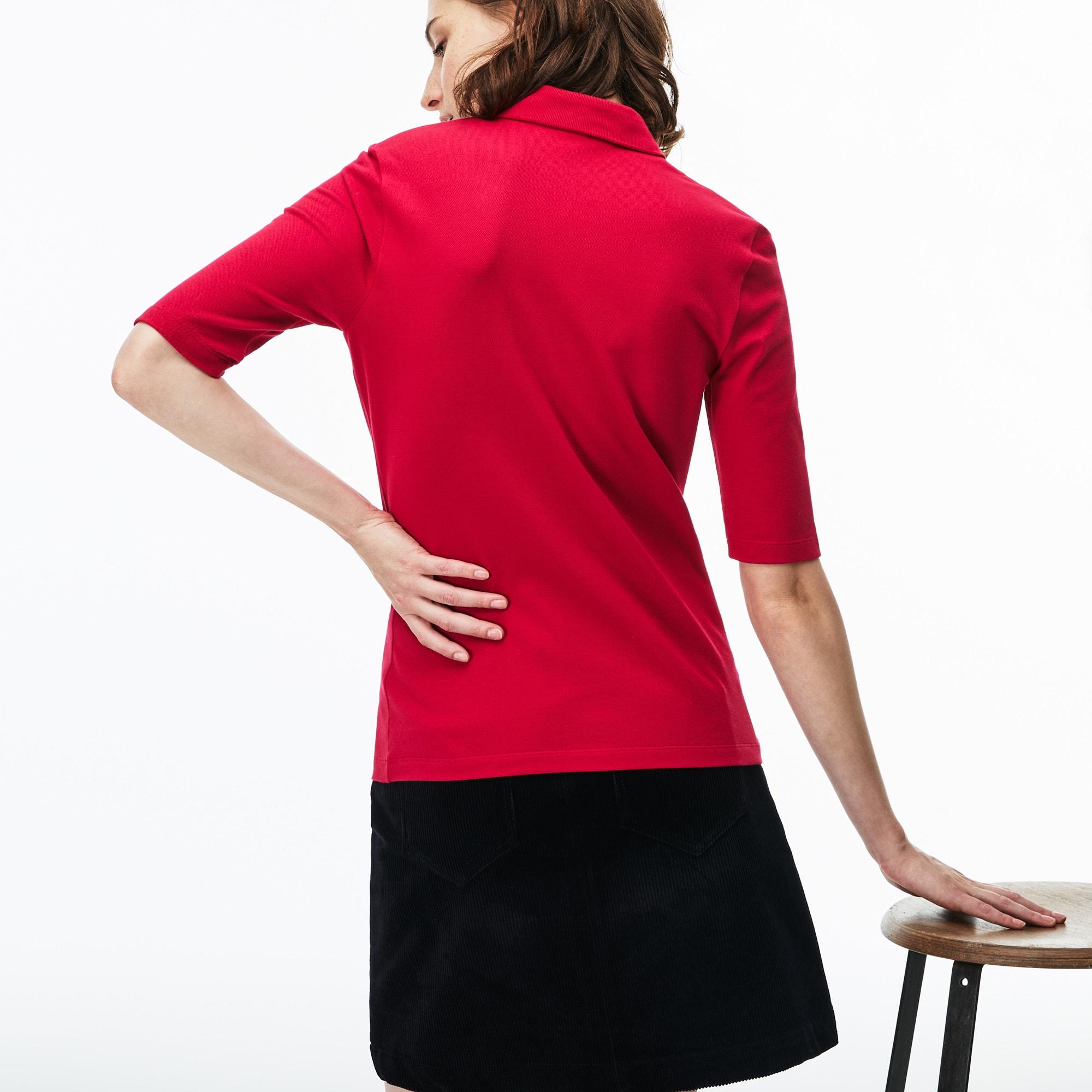 Lacoste Womens Slim Fit Stretch Mini Piqu Polo Shirt In Persian