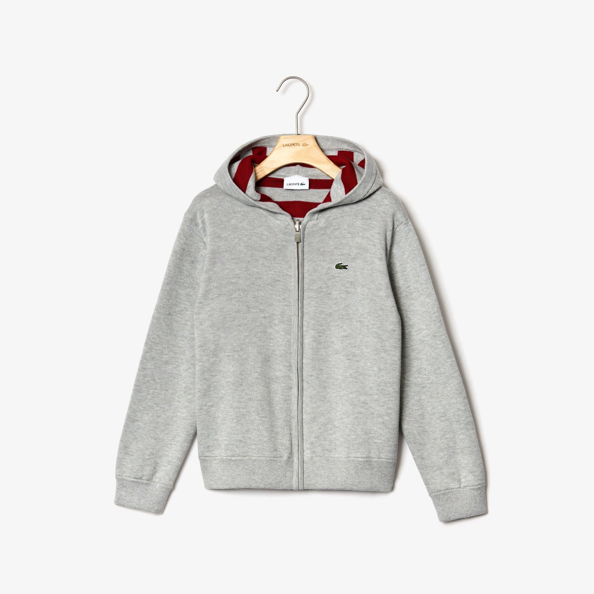 라코스테 Lacoste Boys Reversible Hooded Cotton Jacket,Grey Chine / Bordeaux • RRD