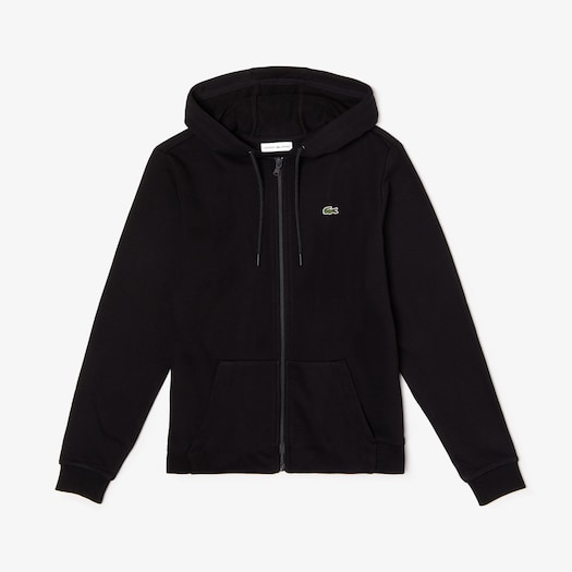 라코스테 우먼 스포츠 테니스 스웻셔츠 Lacoste Womens SPORT Tennis Hooded Zippered Fleece Sweatshirt,Black / Black - C31