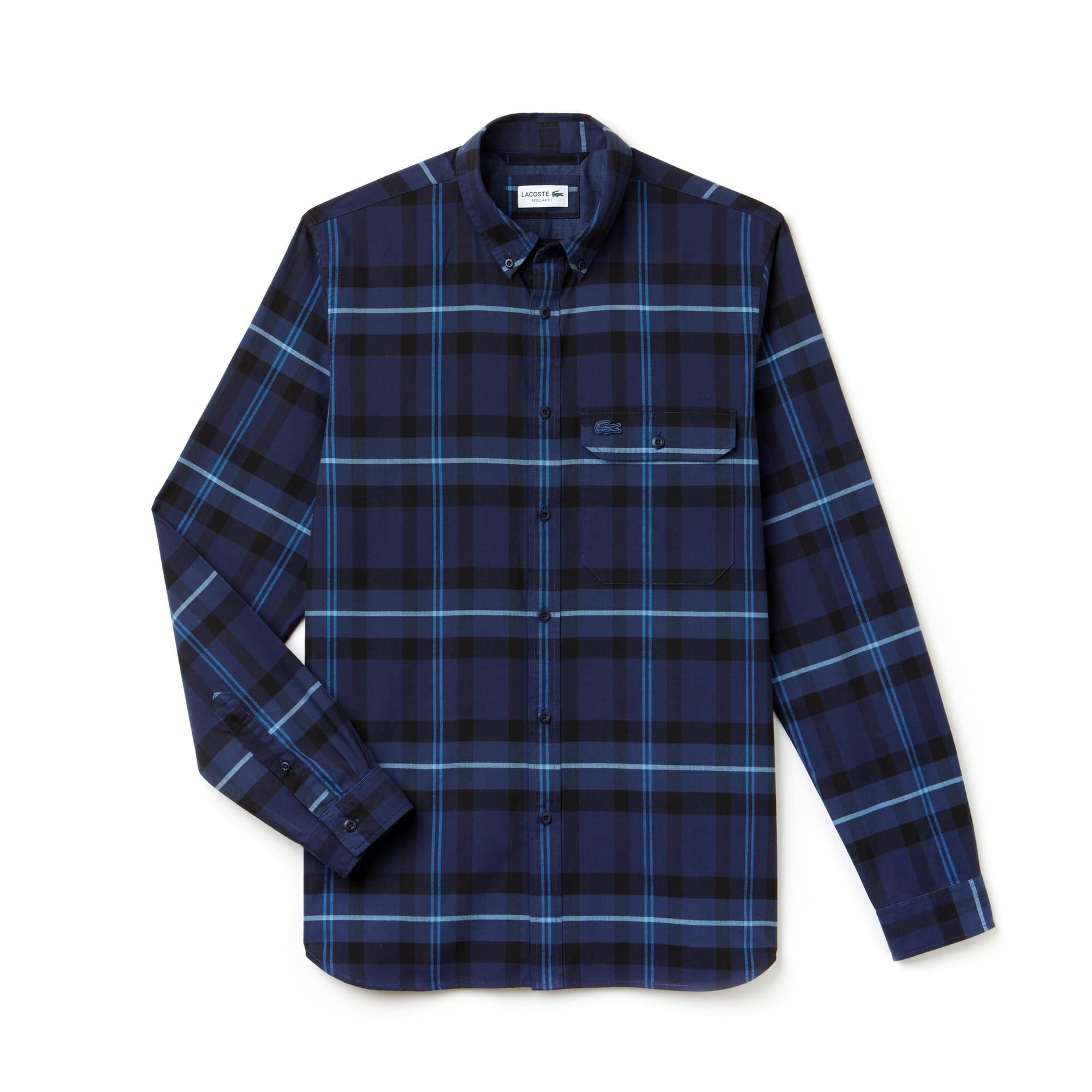 Men's Regular Fit Tartan Cotton Poplin Shirt