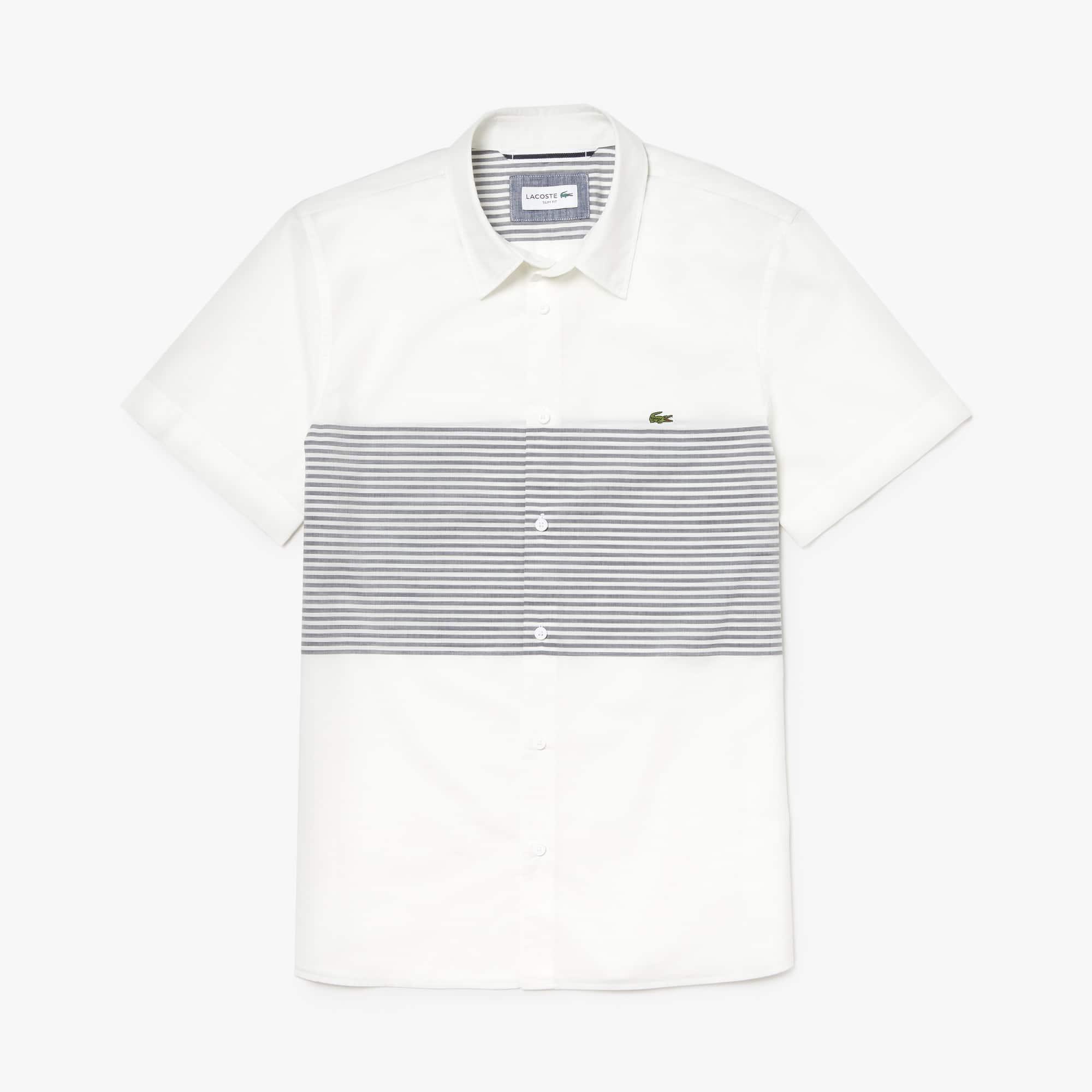 라코스테 Lacoste Mens Slim Fit Striped Cotton Poplin Shirt,white / navy blue