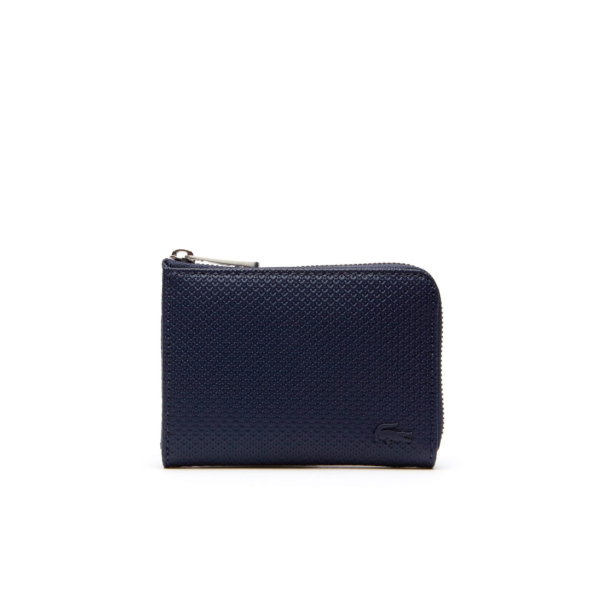 라코스테 Lacoste Mens Chantaco Matte Pique Leather Zip Card Holder,peacoat