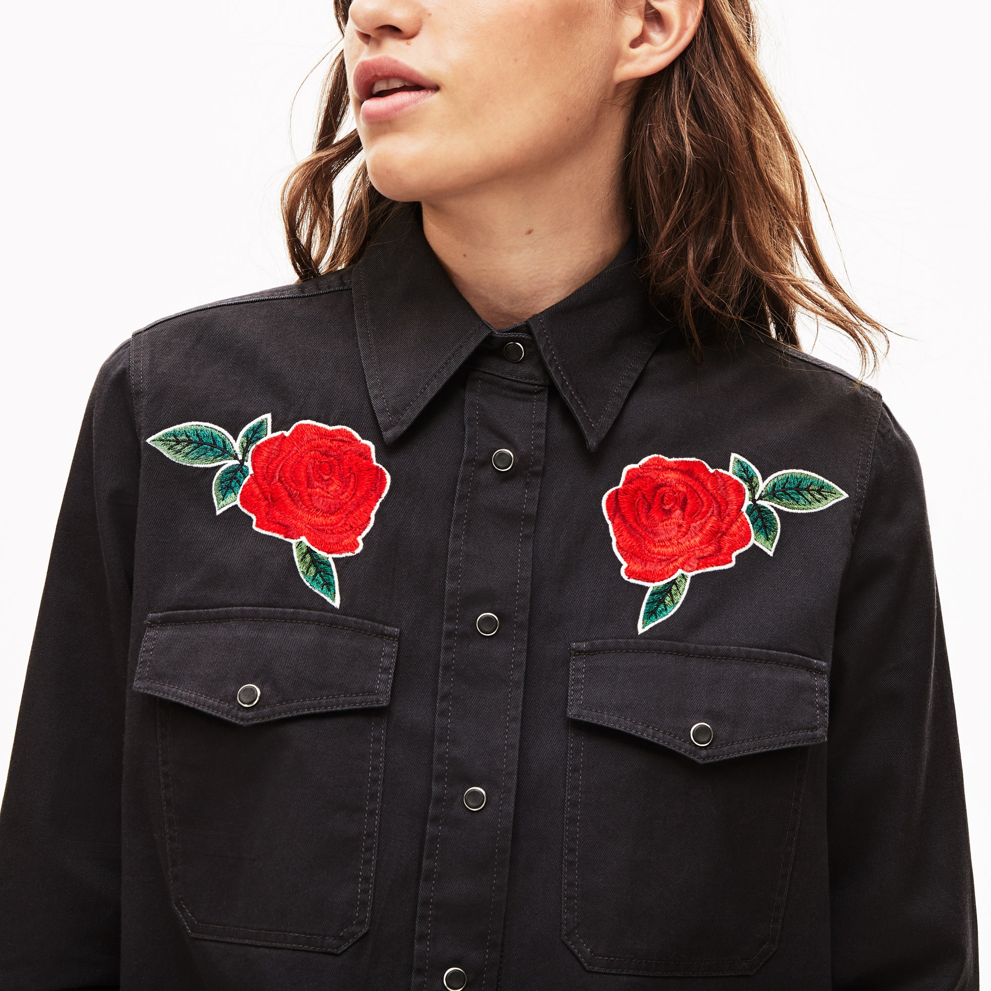 Women's LIVE Rose-Embroidered Cotton Shirt