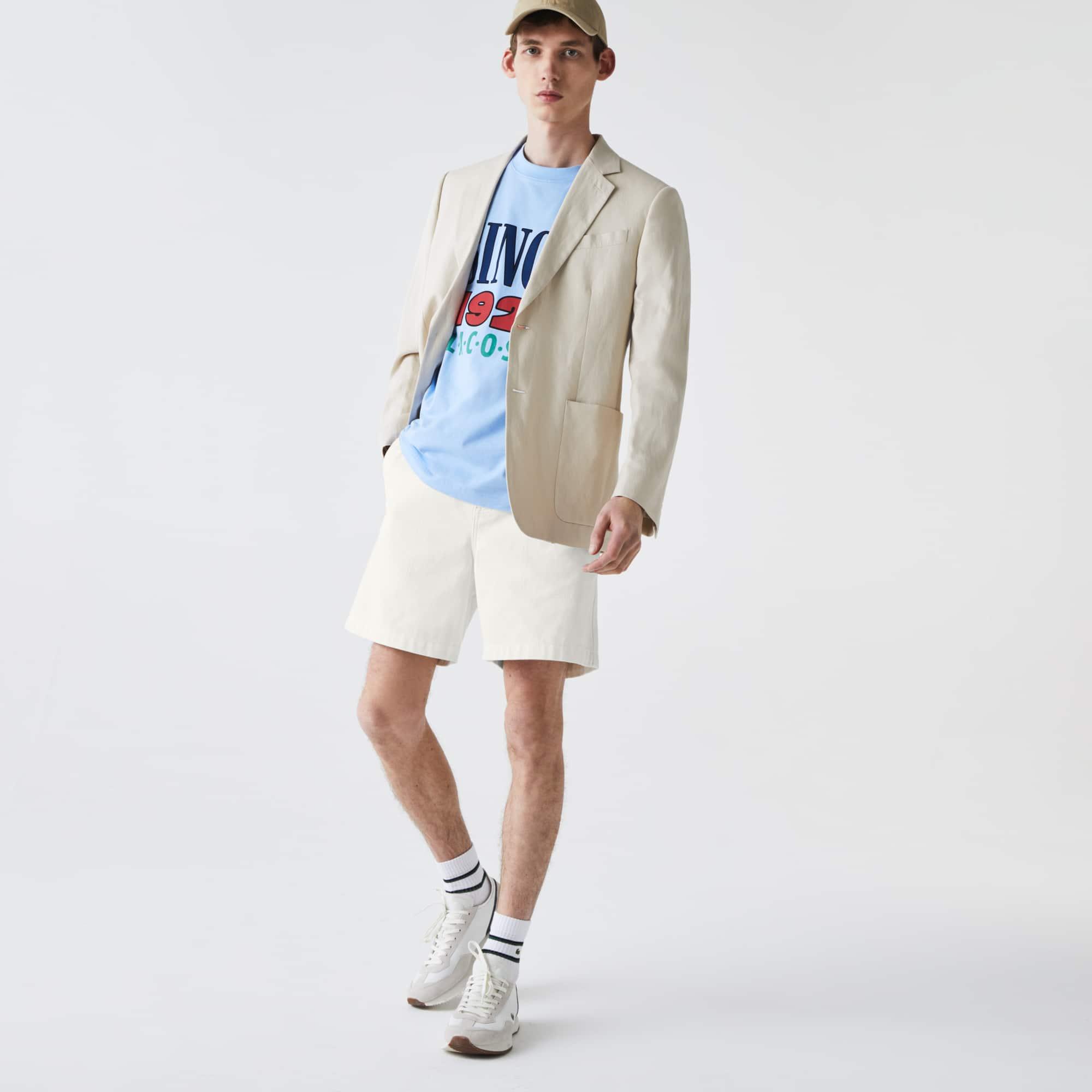라코스테 Lacoste Men's Classic Fit Overstitched Denim Shorts,White 70V