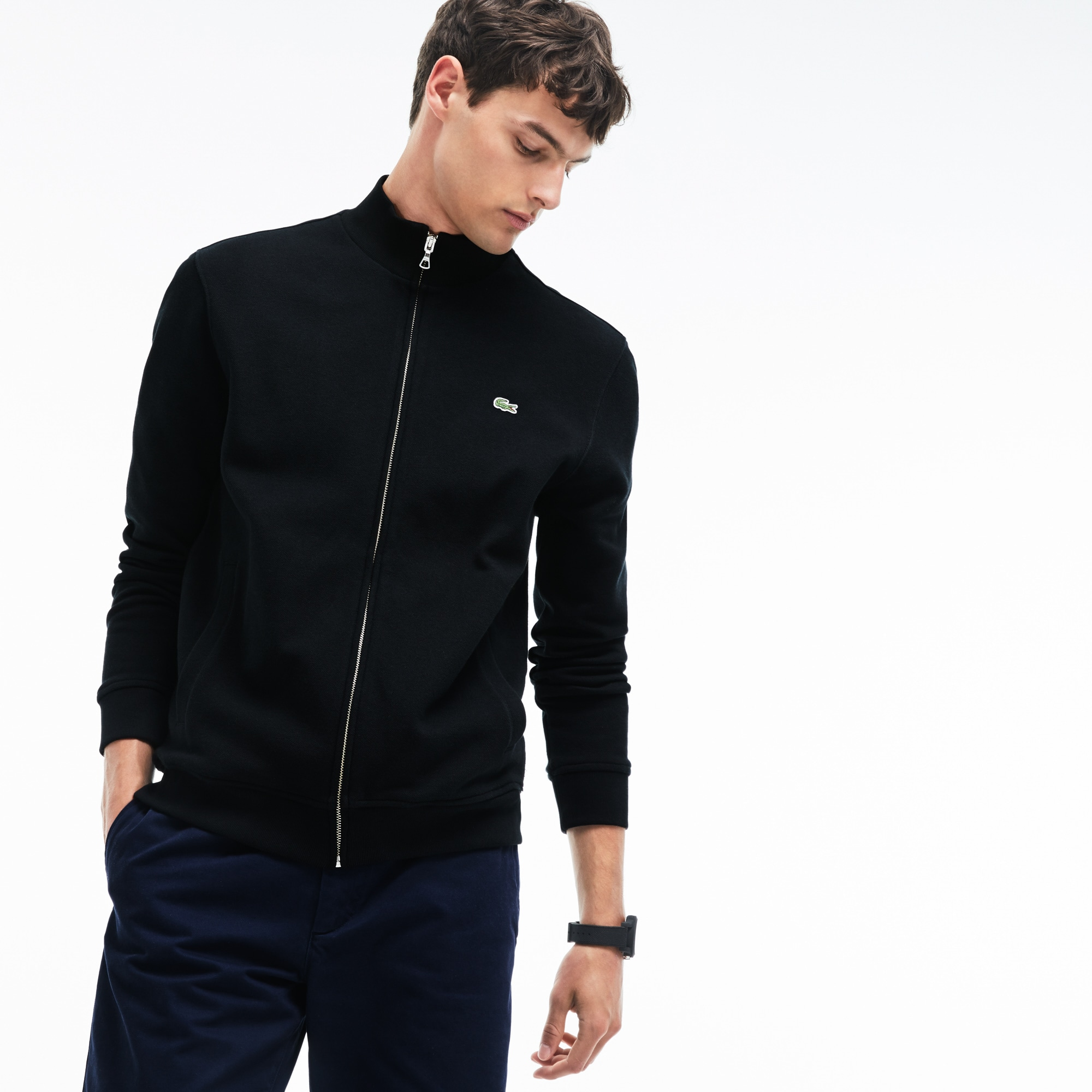 Men's Zippered Stand-up Collar Fleece Sweatshirt