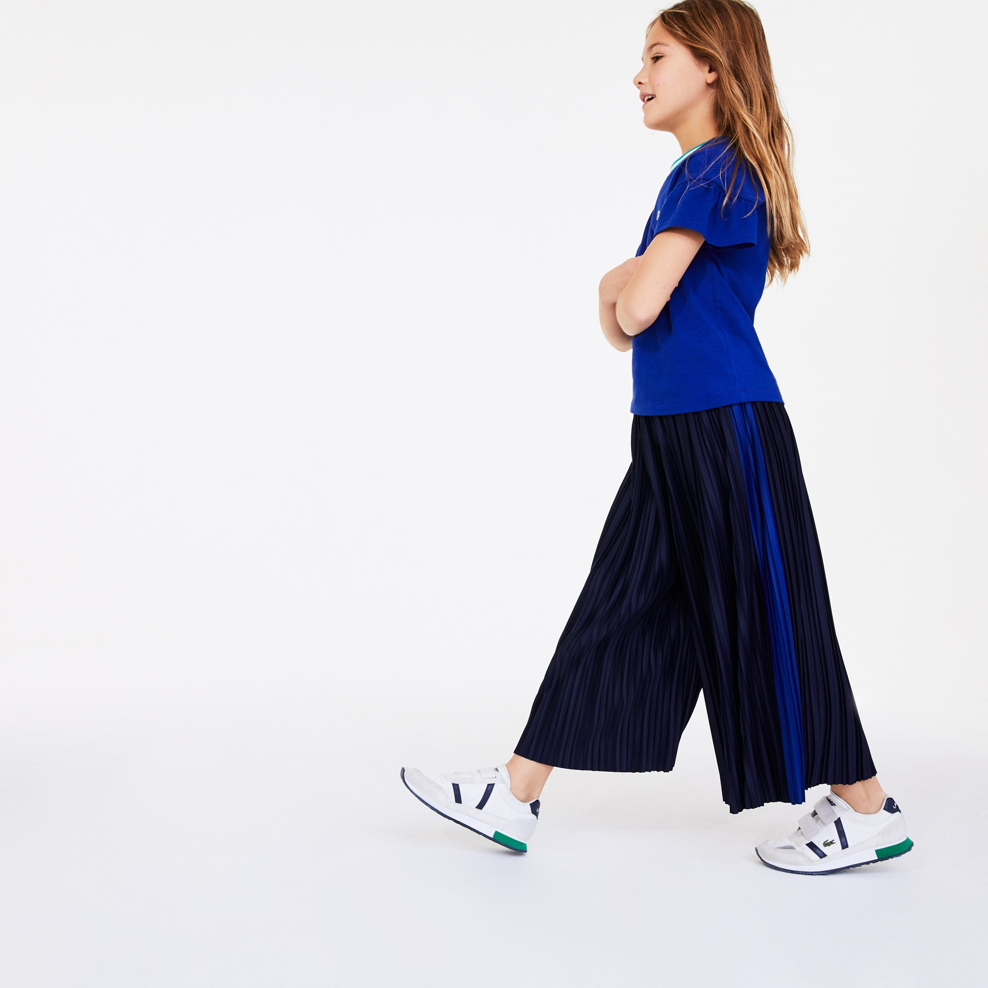 라코스테 Lacoste Girls Flared Pleated Knit Pants,Navy Blue / Blue • W4J