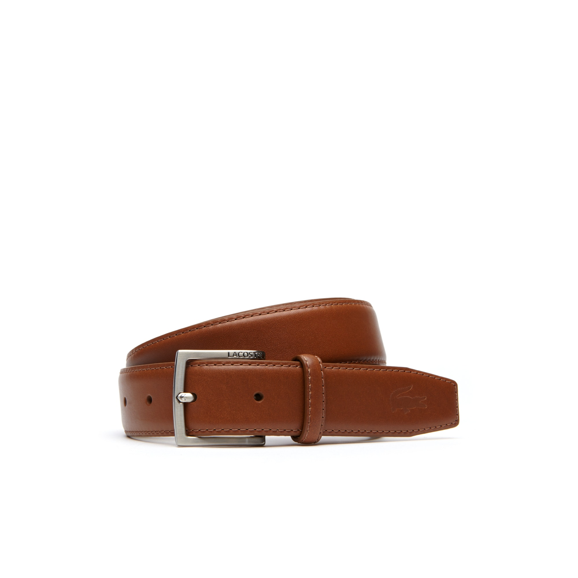 Men's Engraved Tongue Buckle Leather Belt