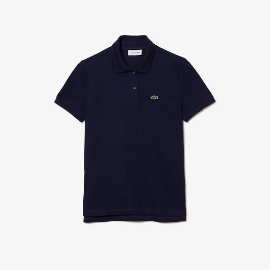 라코스테 우먼 쁘띠 피케 폴로 셔츠 - 네이비 (클래식 핏) Lacoste Womens Classic Fit Soft Cotton Petit Pique Polo Shirt