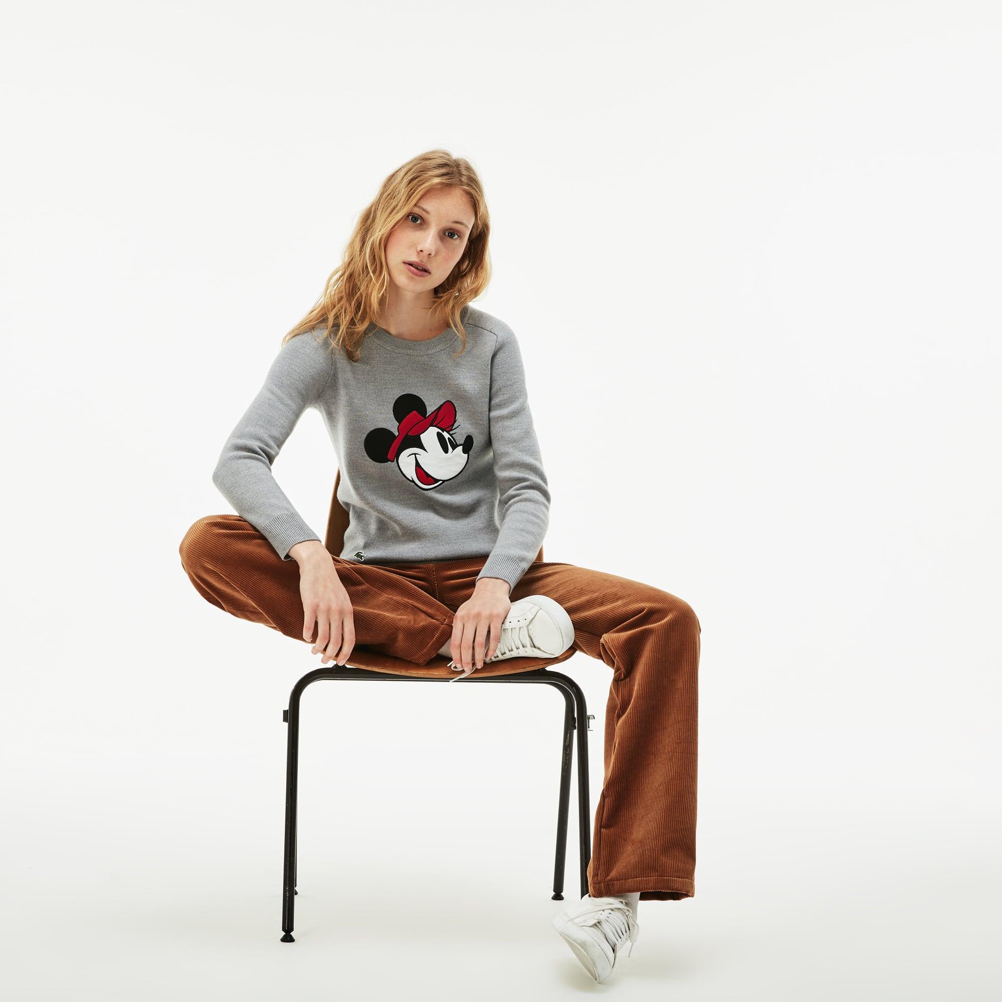 Women's Crew Neck Disney Minnie Embroidery Interlock Sweater