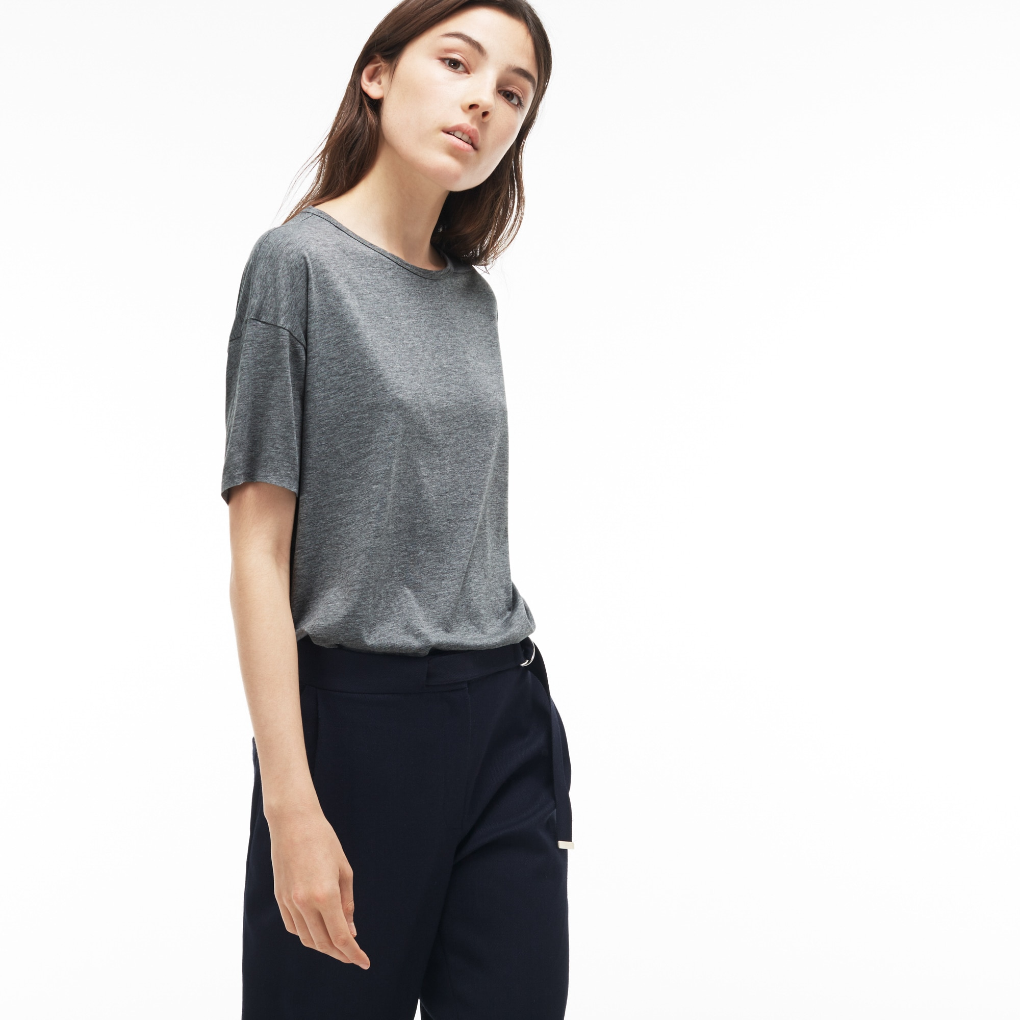 Women's Relaxed Fit Crew Neck Flowing Jersey T-Shirt