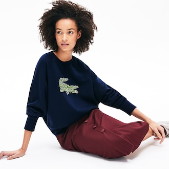 라코스테 우먼 로고 플리스 스웻셔츠 - 네이비 Lacoste Womens Crewneck Multi Croc Logo Fleece Sweatshirt, SF8687