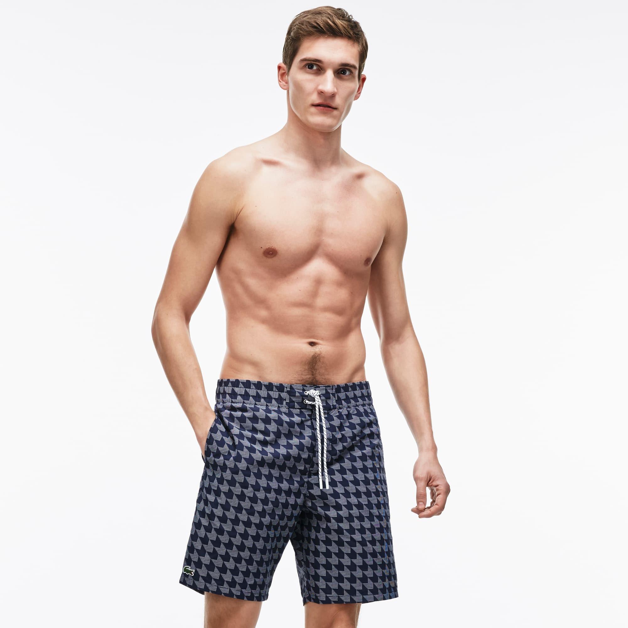 Men's Long Cut Houndstooth Print Swimming Trunks