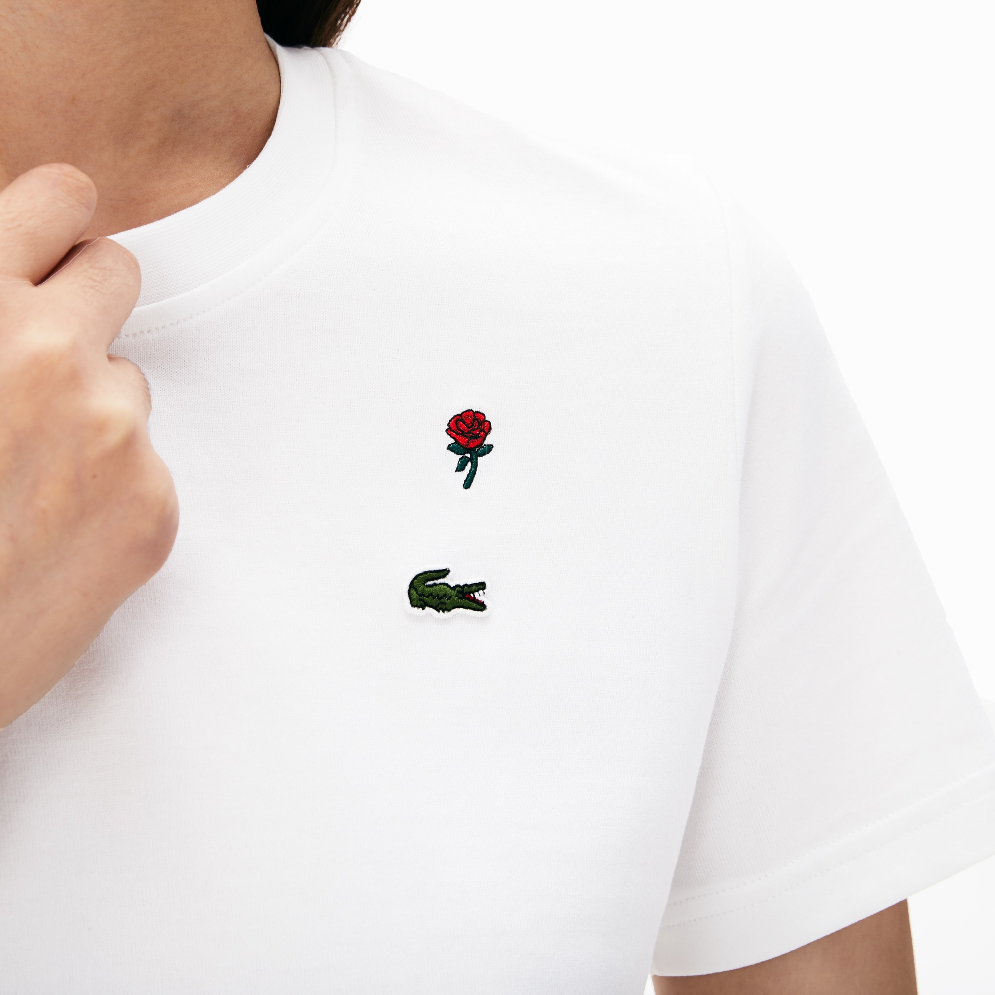 Women's LIVE Rose-Embroidered Cotton T-Shirt