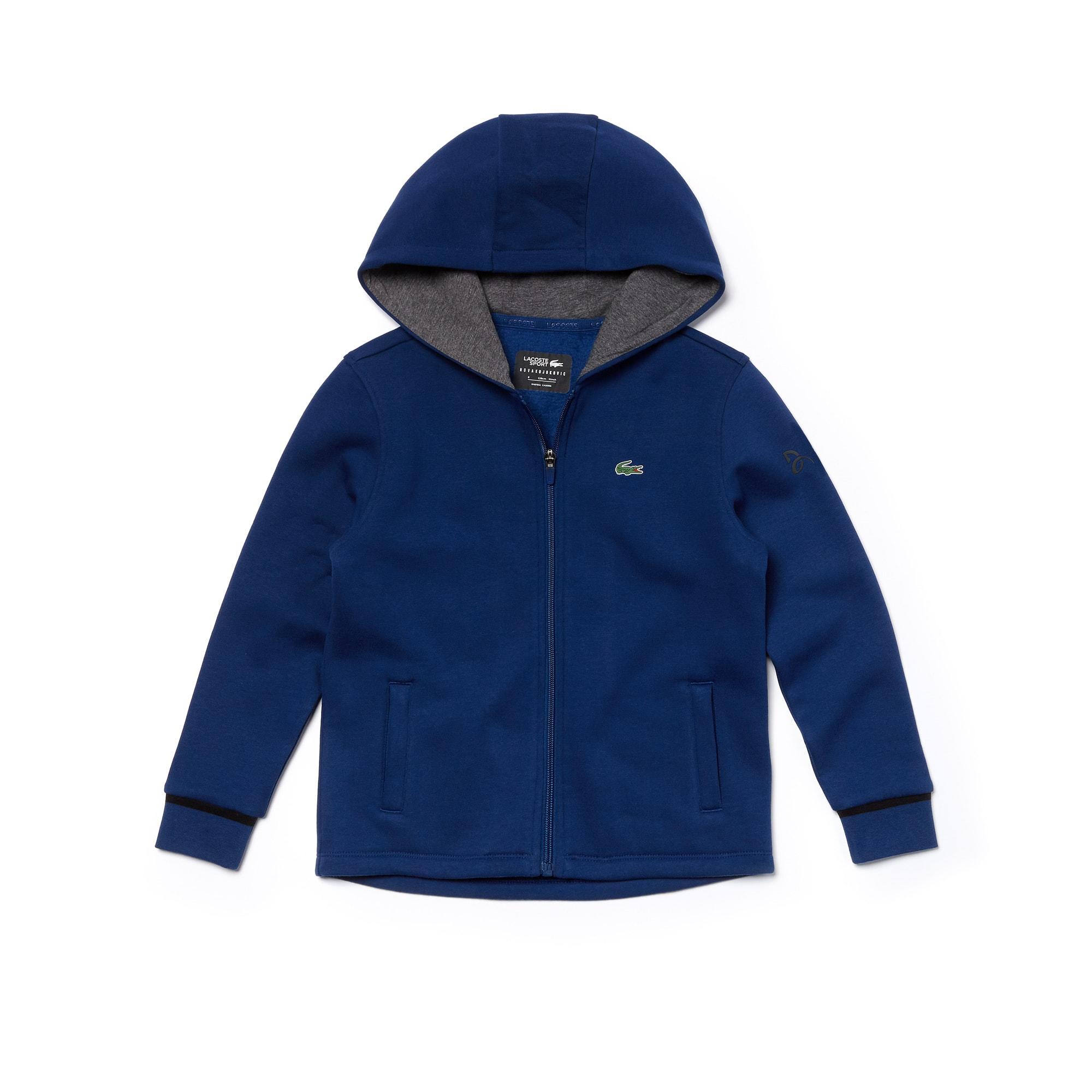 Boys' Lacoste SPORT Hooded Fleece Sweatshirt - Novak Djokovic Supporter Collection