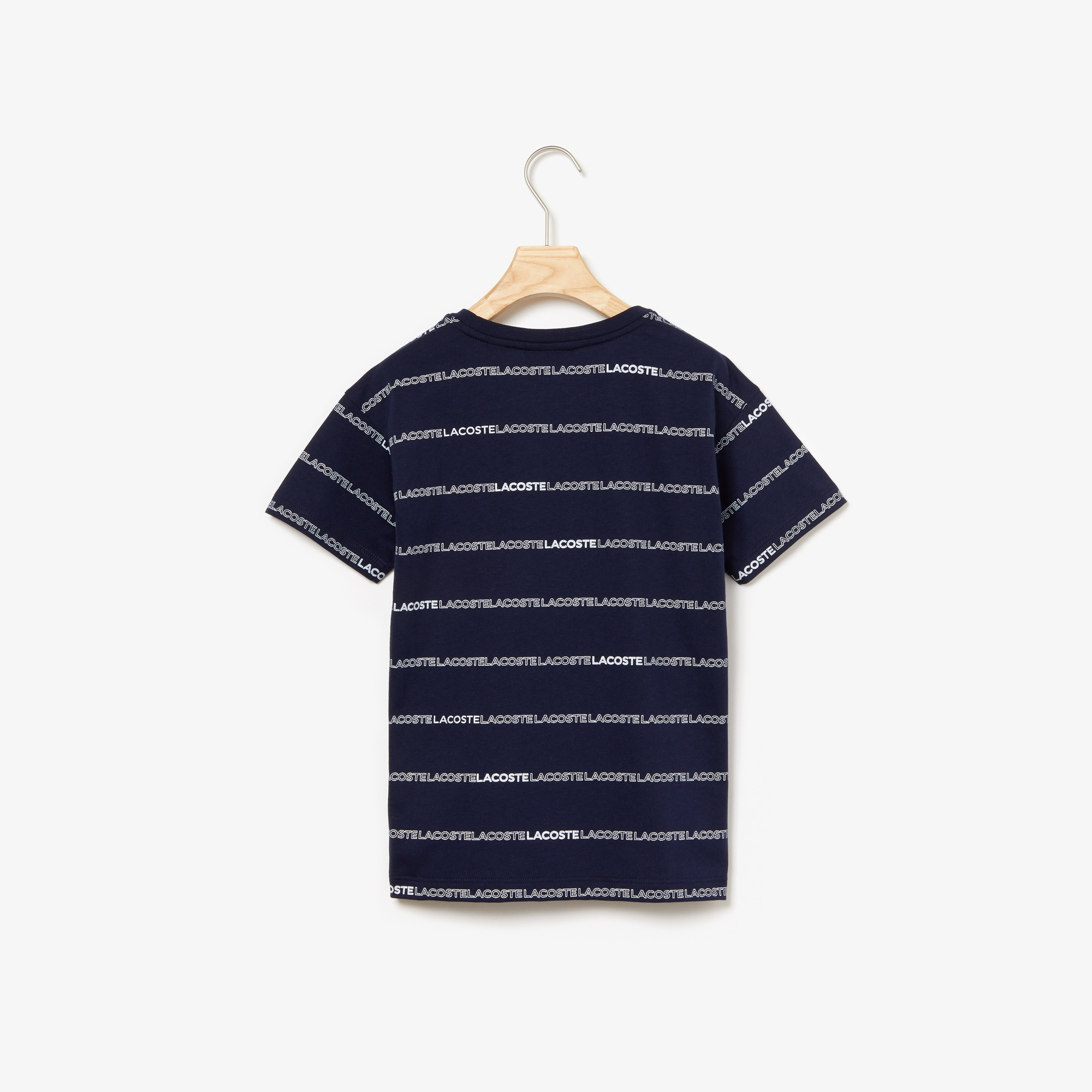 Boys' Crewneck Print Striped Cotton T-shirt