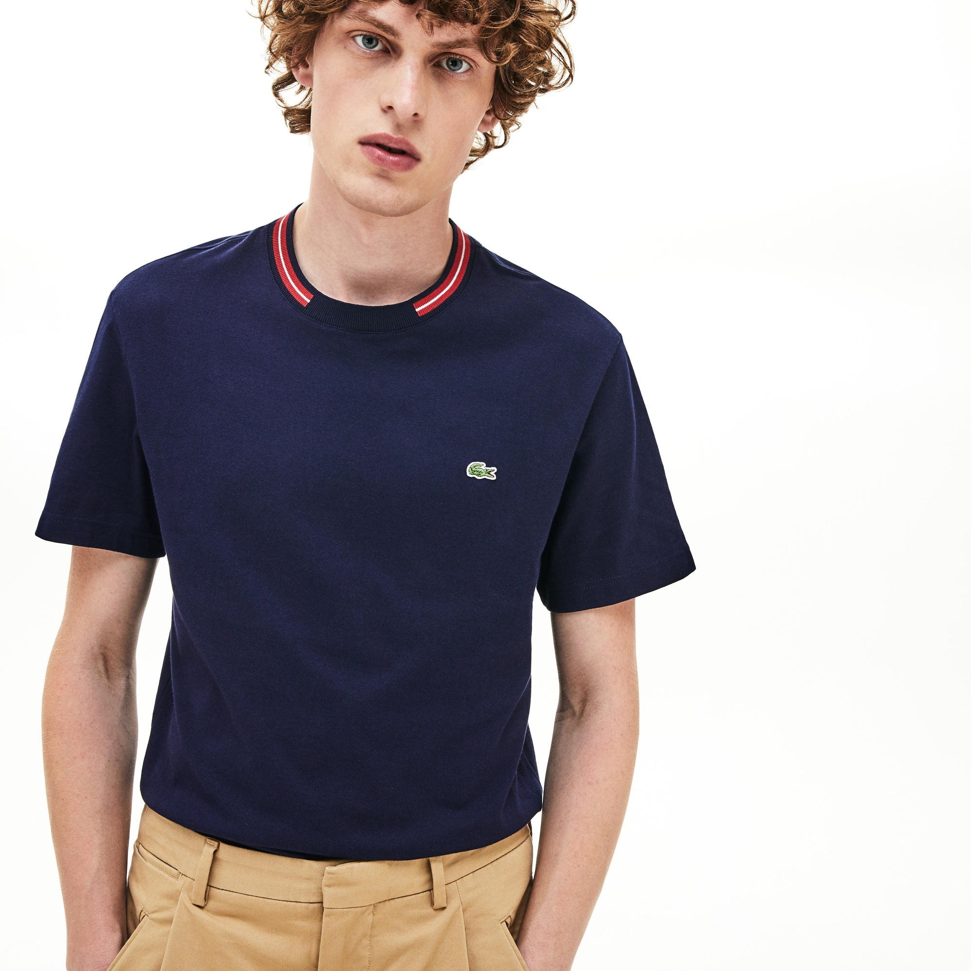 Lacoste Tops Men's Striped-Crewneck Cotton T-Shirt