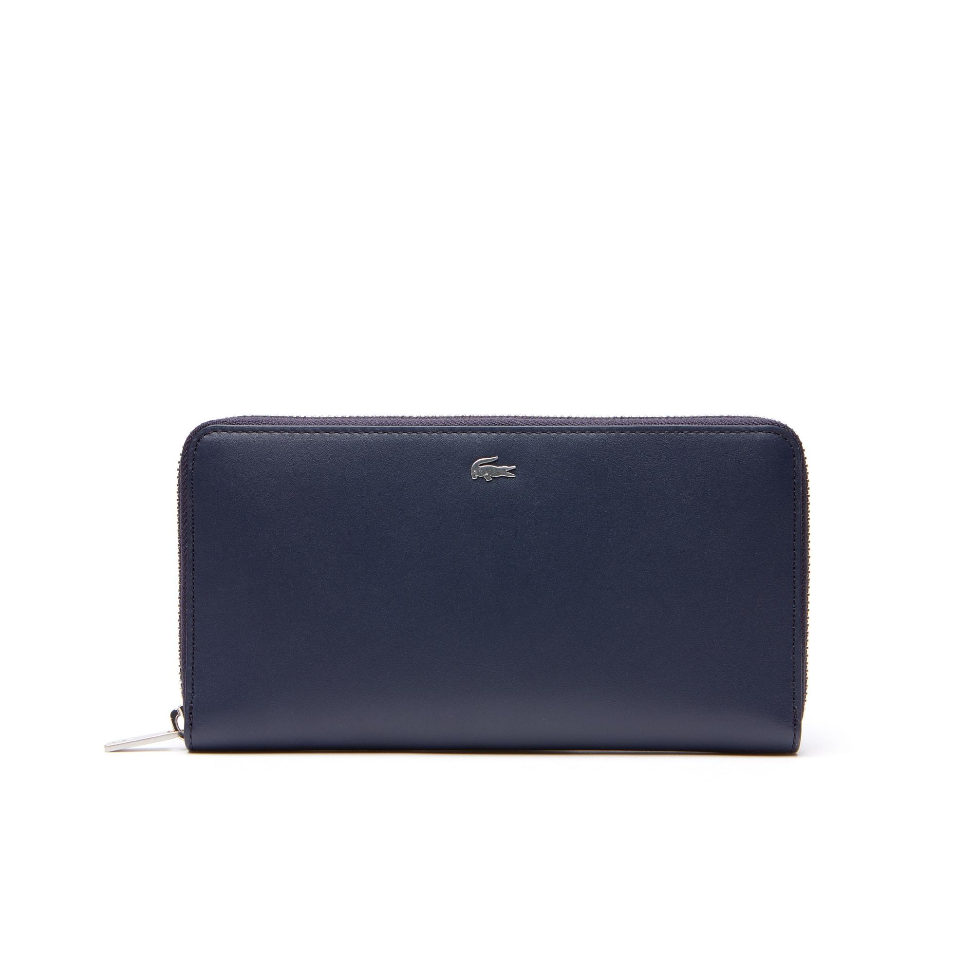 라코스테 Lacoste Mens Fitzgerald Zip Colorblock Leather 6 Card Wallet,PEACOAT PONDEROSA PINE
