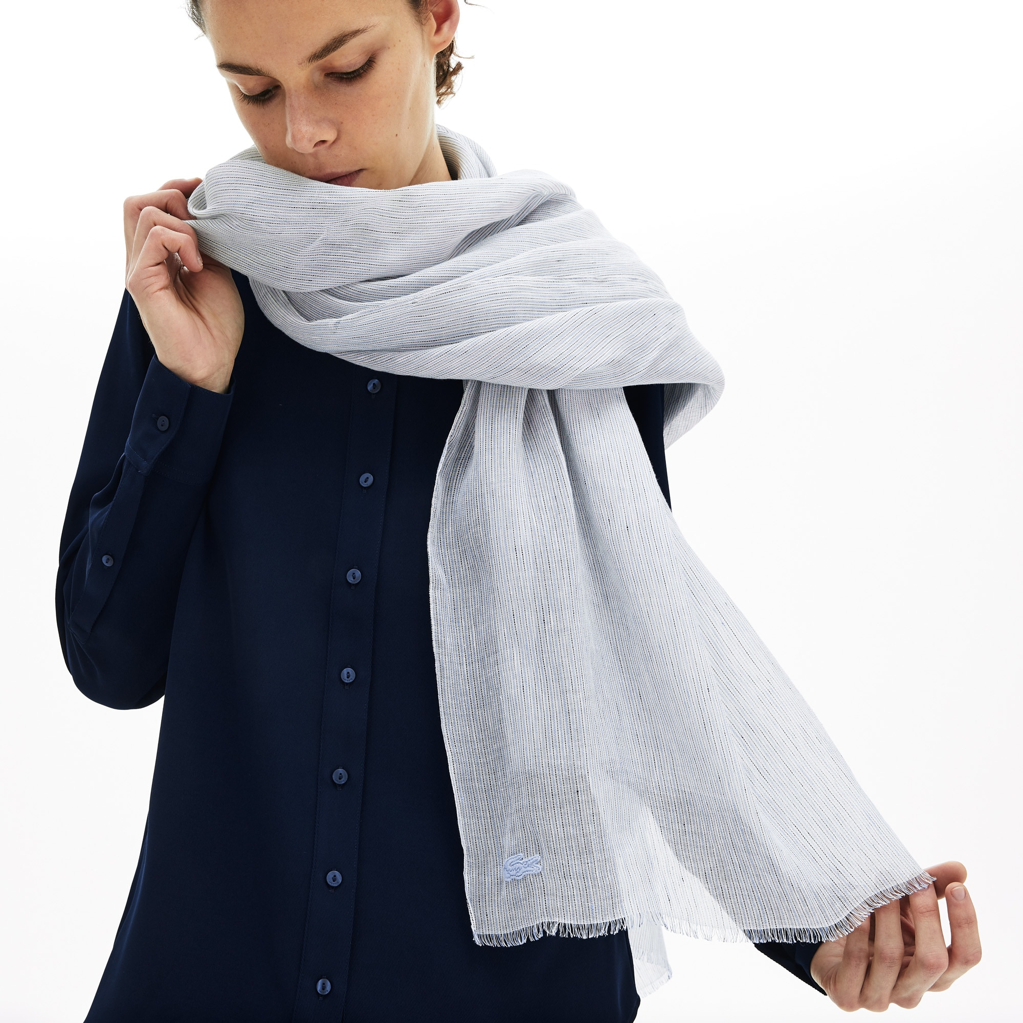 Lacoste Womens Pinstriped Cotton-Linen Scarf