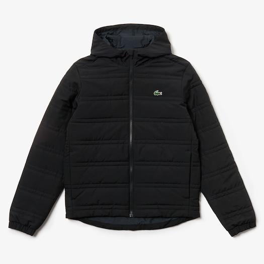 라코스테 Lacoste Mens SPORT Packable Water-Resistant Zip Jacket,Black / Black - C31