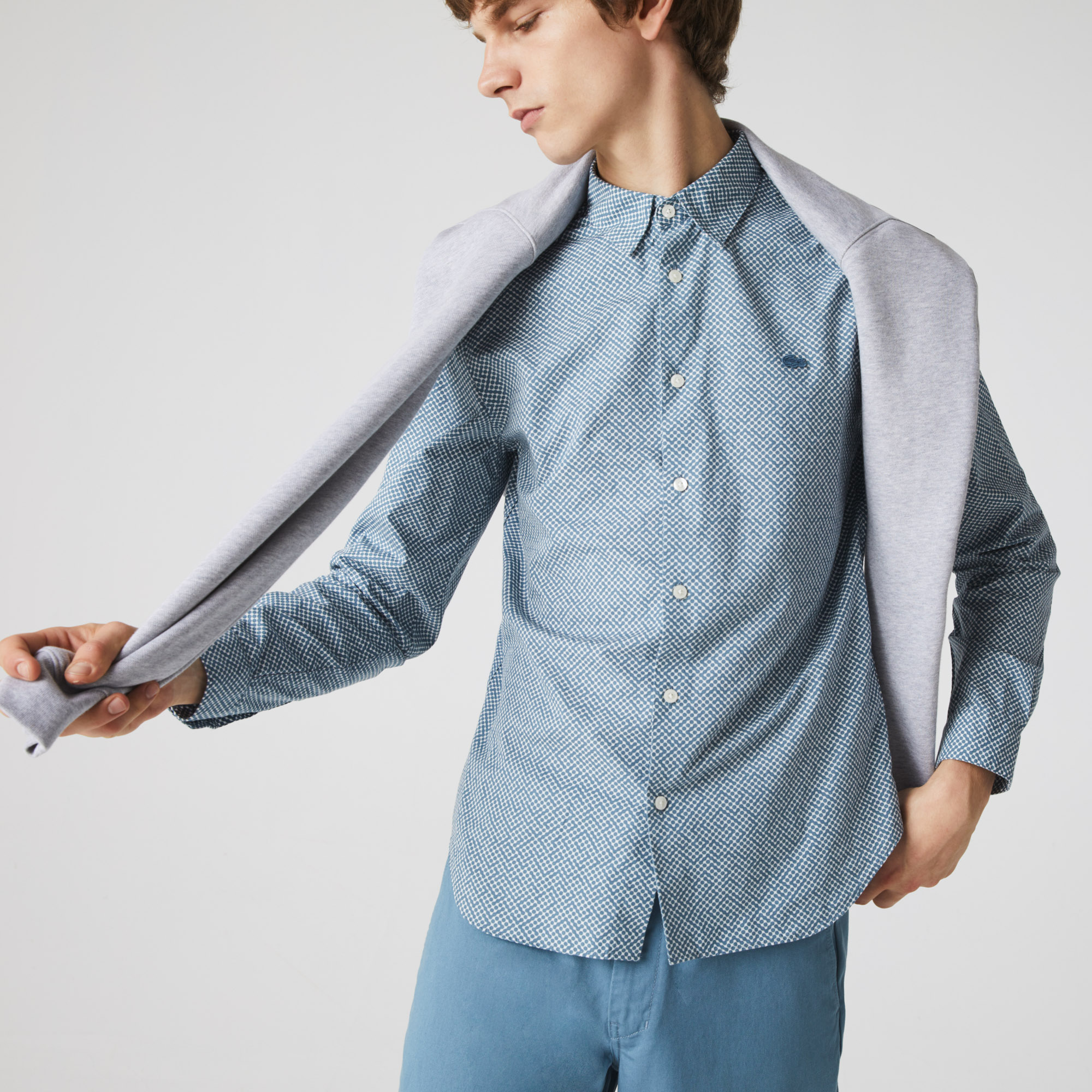 라코스테 Lacoste Mens Slim Fit Tennis Ball Pattern Cotton Poplin Shirt