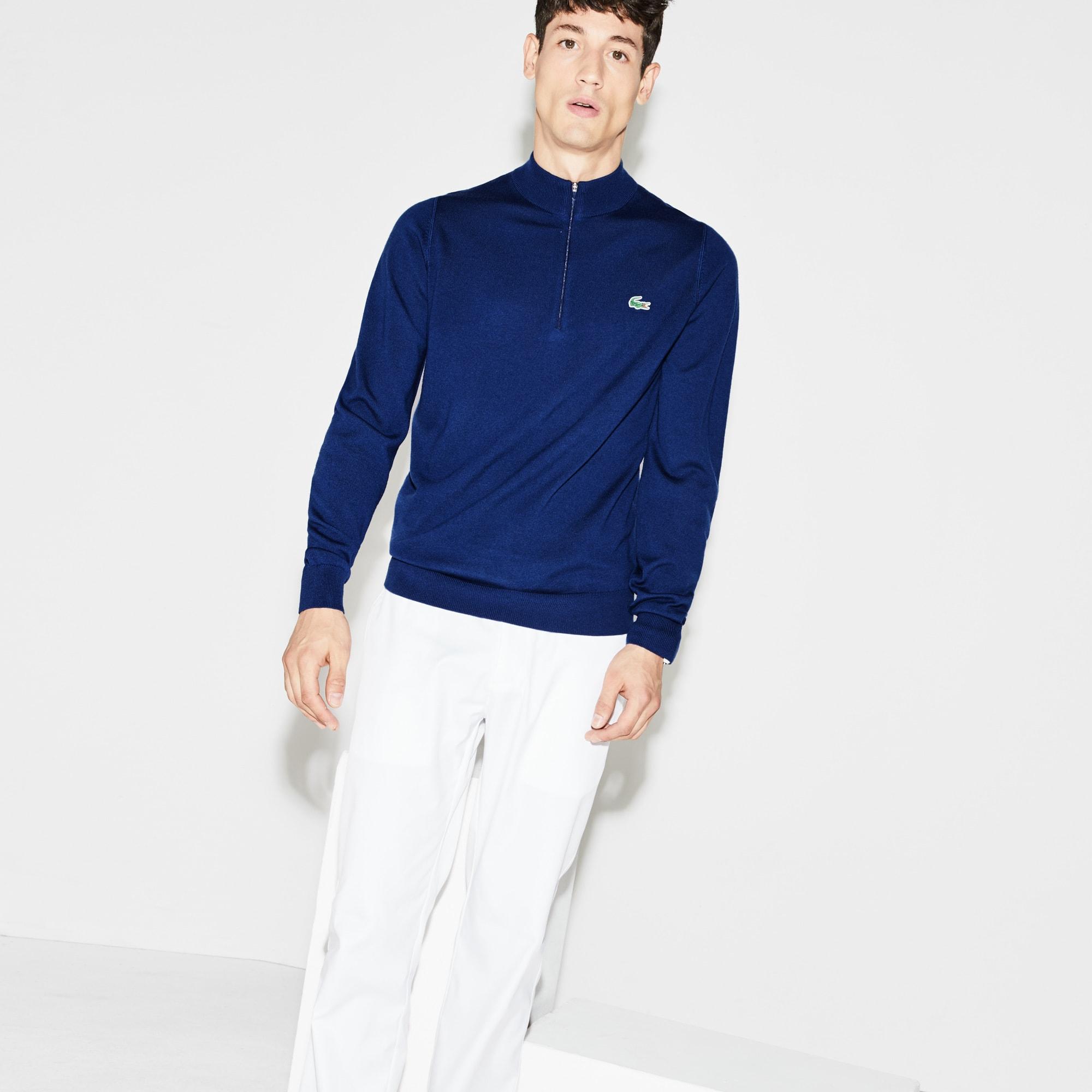Men's SPORT Zip Stand-Up Neck Wool Jersey Golf Sweater