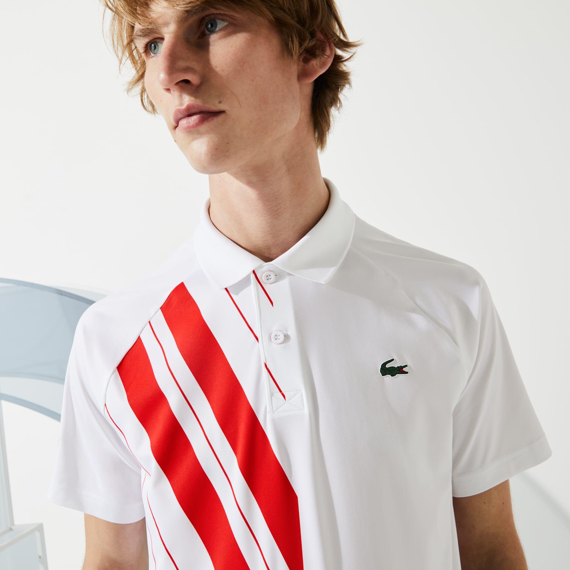 Lacoste Mens SPORT x Novak Djokovic Print Stretch Jersey Polo Shirt