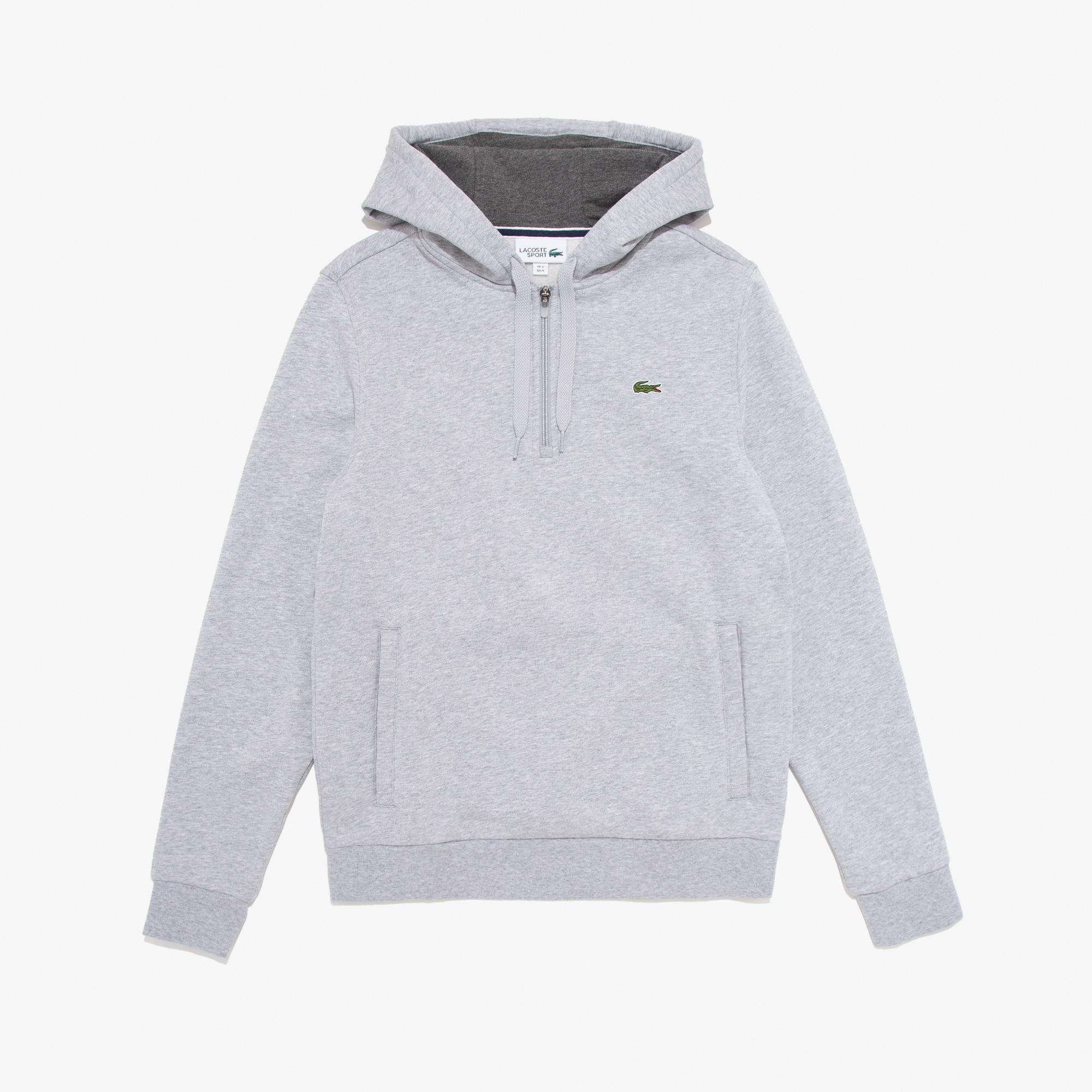 라코스테 Lacoste Mens SPORT Hooded Fleece Tennis Sweatshirt,Grey Chine - J6A