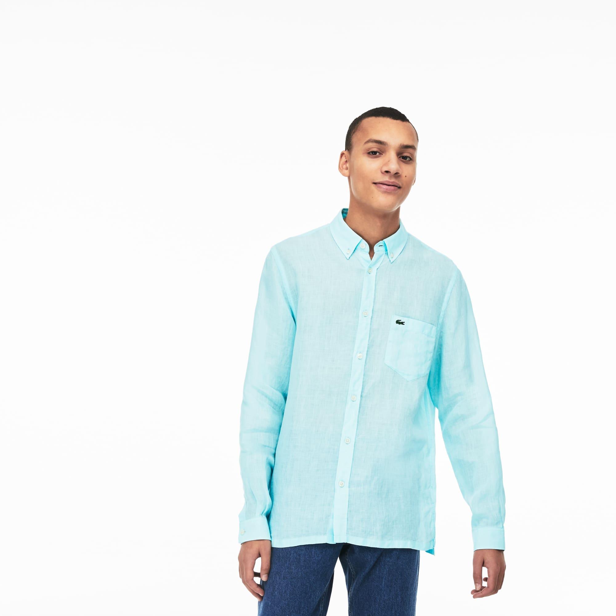 Camisa adolescente Junior corto manga de lino fino camisas
