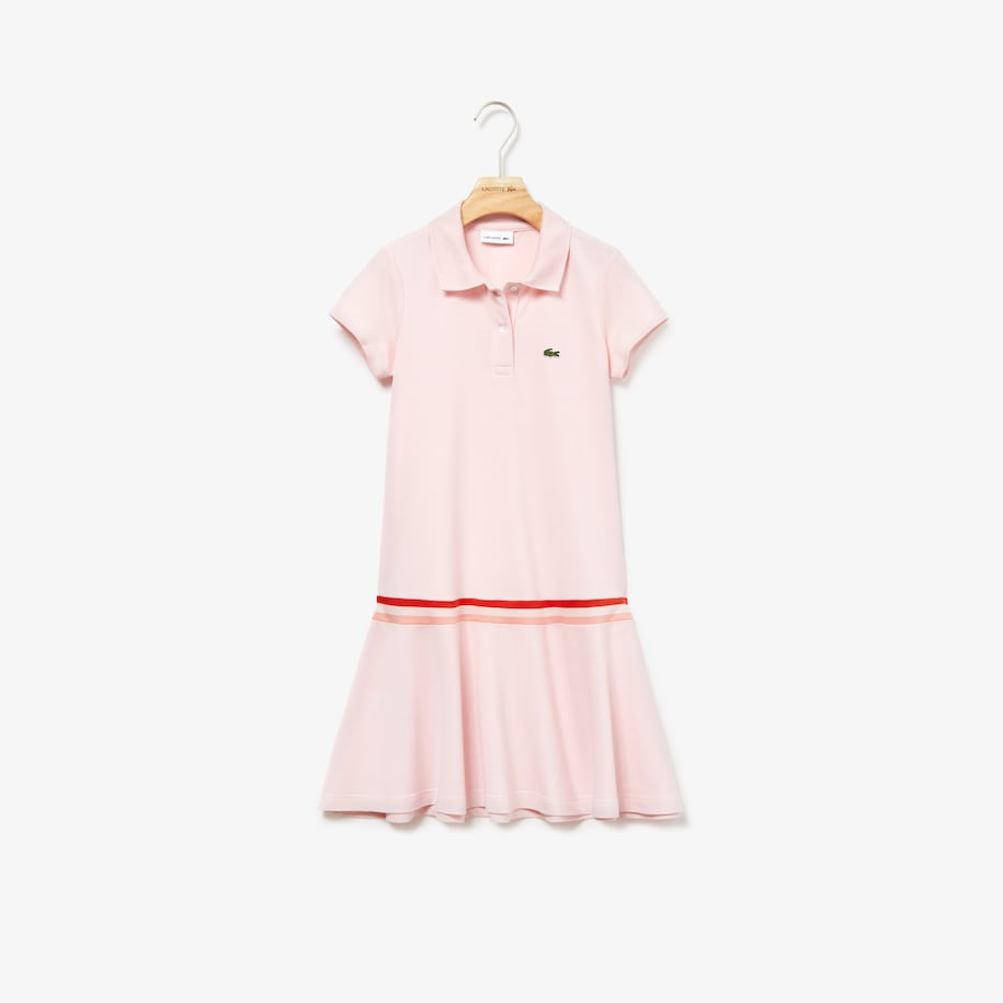 Girls' Pleated Cotton Polo Dress