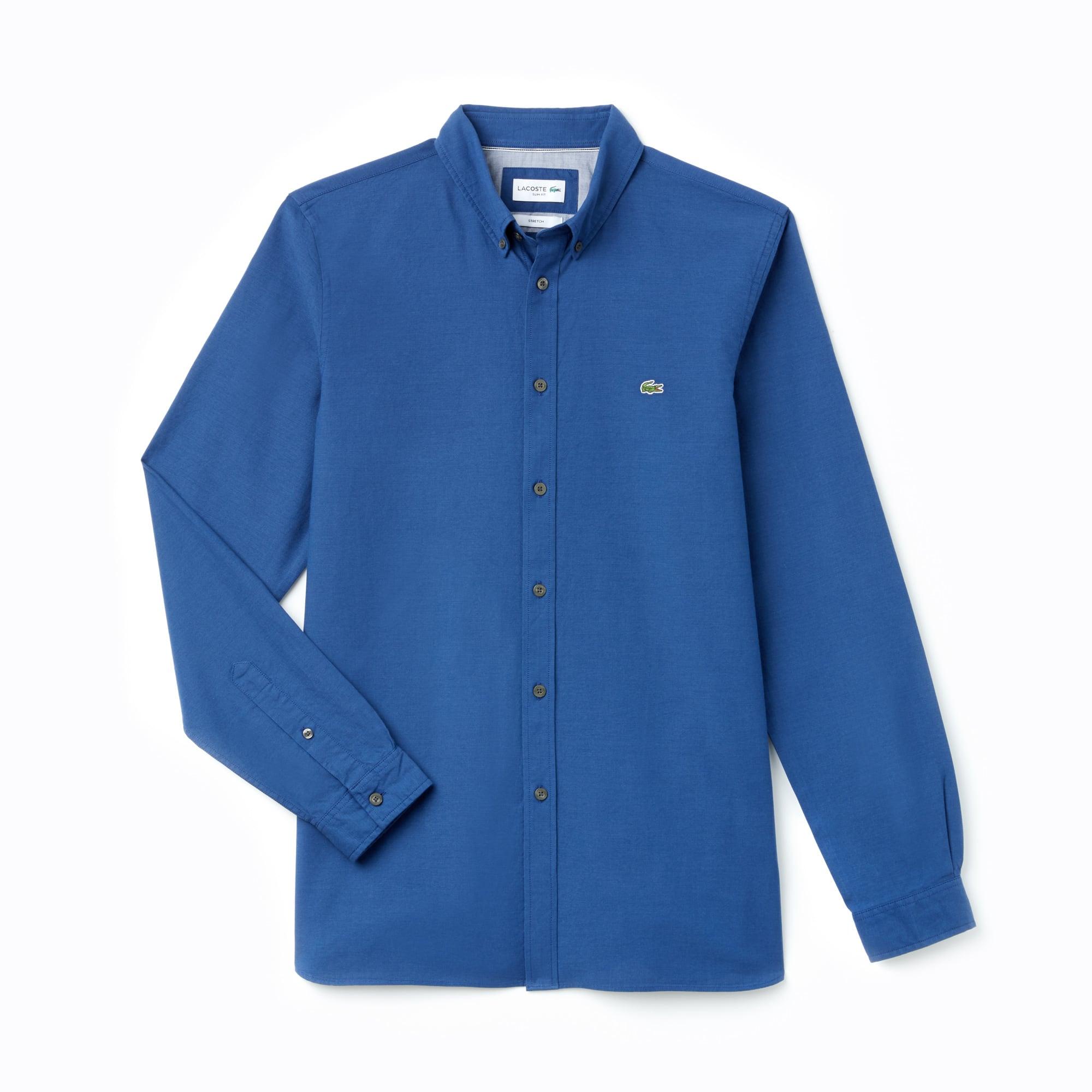 라코스테 Lacoste Mens Slim Fit Stretch Oxford Cotton Shirt,navy blue