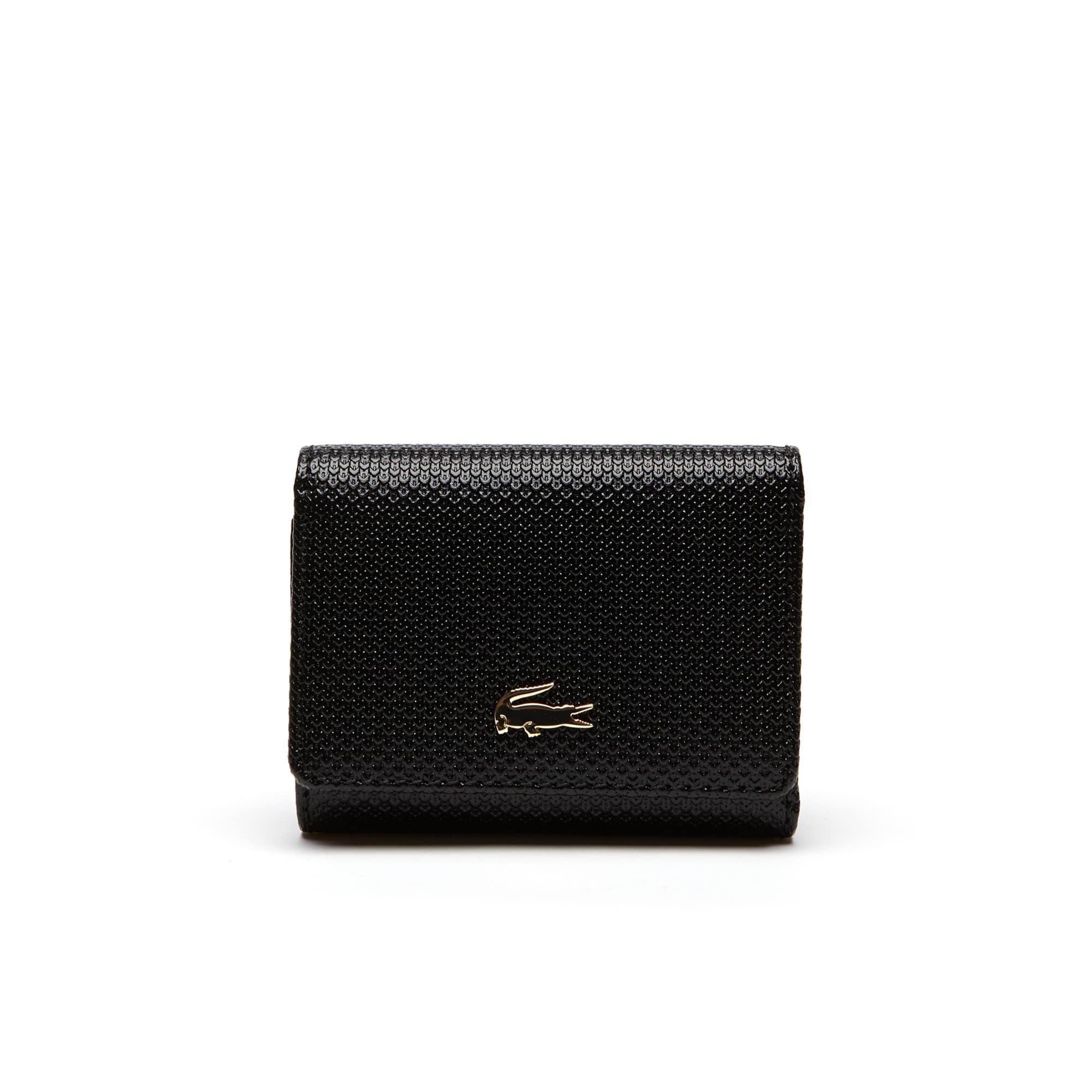 라코스테 지갑 Lacoste Womens Chantaco Pique Leather Six Card Wallet,black