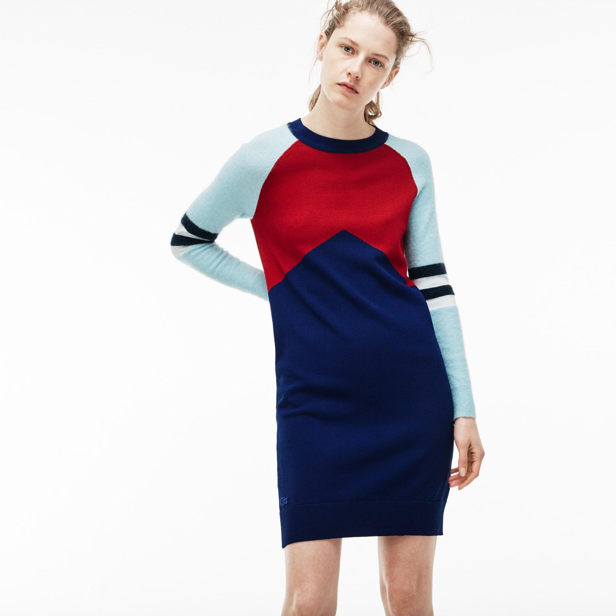 Women's Stretch Wool Jersey Colorblock Sweater Dress