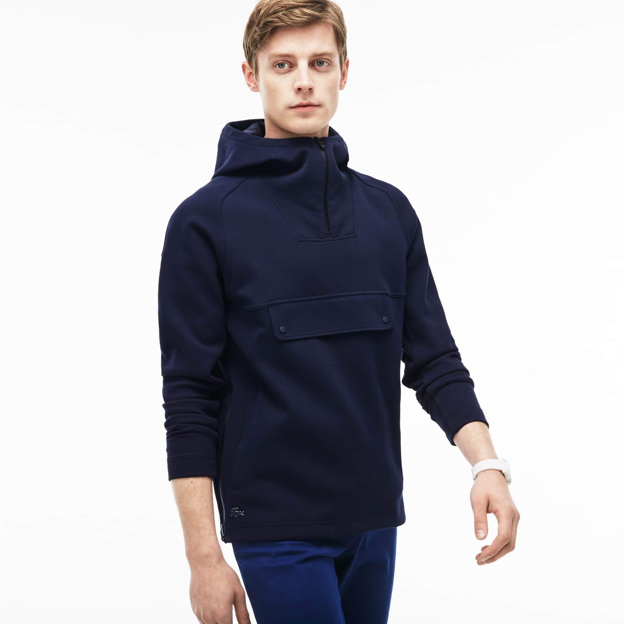 Men's Hooded Zip Neck Wide Pockets Sweatshirt