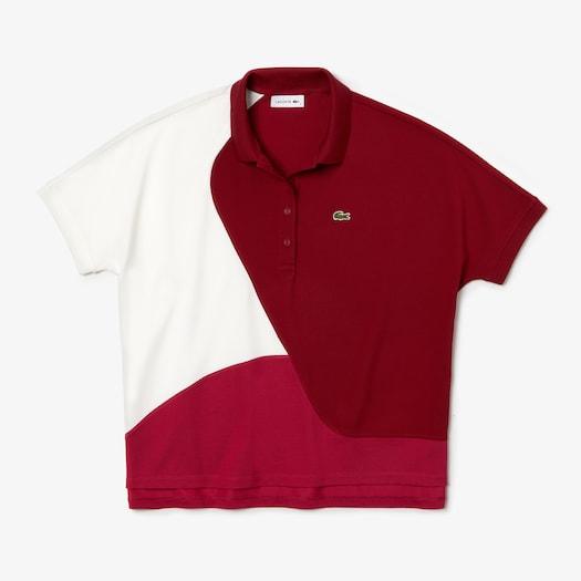 라코스테 우먼 칼라블록 피케 폴로 셔츠 Lacoste Womens Color-Block Thermoregulating Pique Polo,Fushia Pink / Bordeaux / White