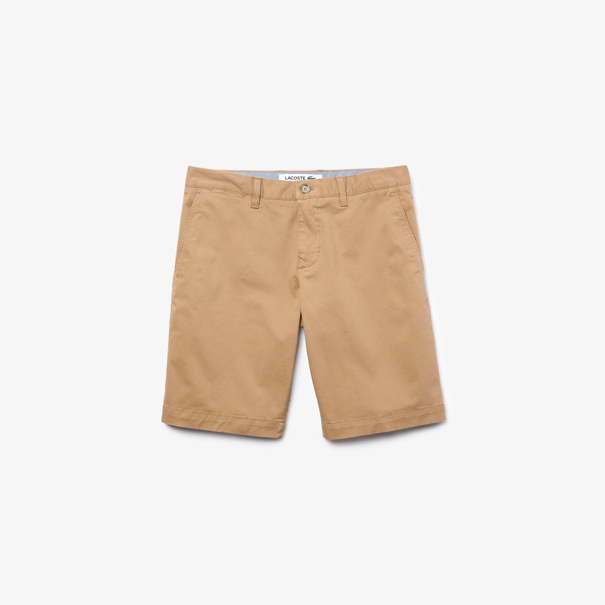 라코스테 Lacoste Mens Slim Fit Stretch Gabardine Bermuda Shorts,beige