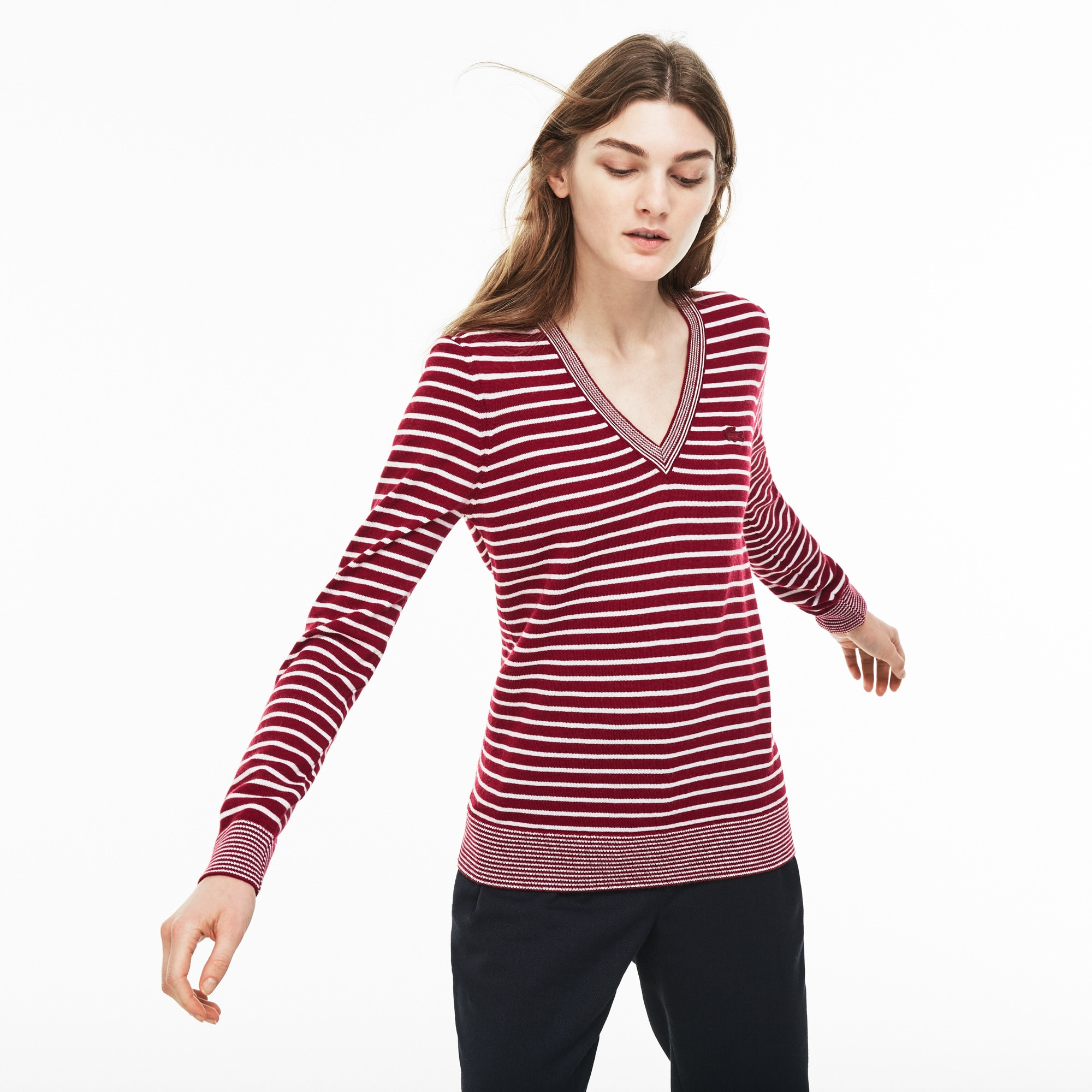 Women's V-neck Bicolor Striped Wool Jersey Sweater