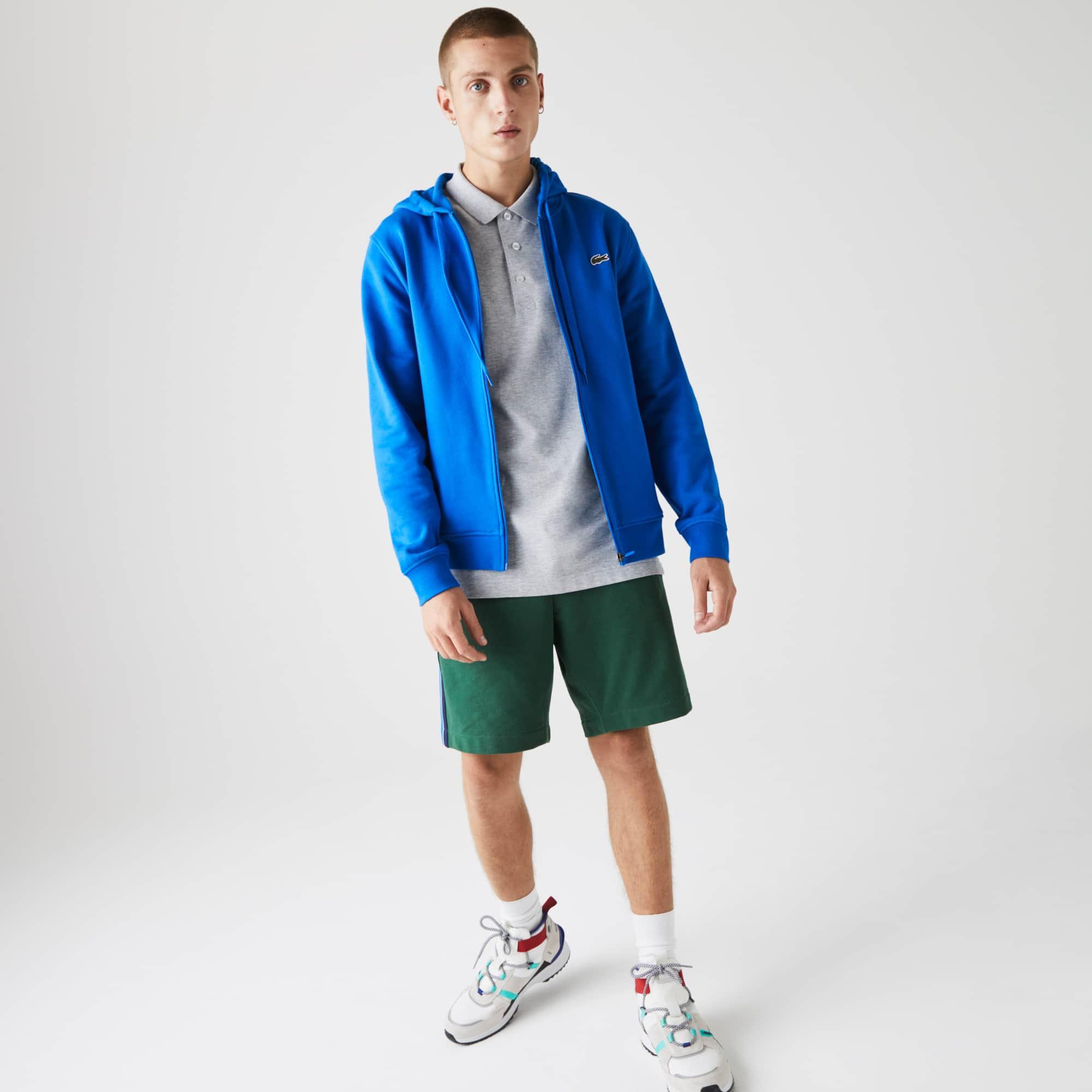 Lacoste Mens SPORT Hooded Lightweight Bi-material Sweatshirt