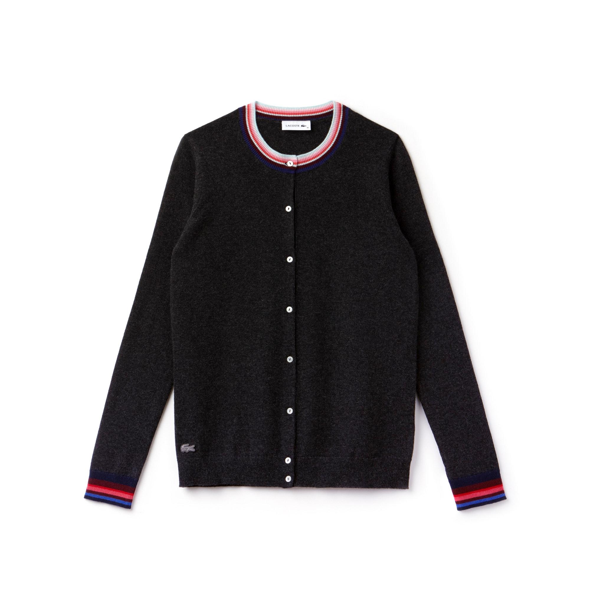 596c60b5 Women's Cashmere Jersey Striped Details Cardigan Women's Cashmere Jersey  Striped Details Cardigan