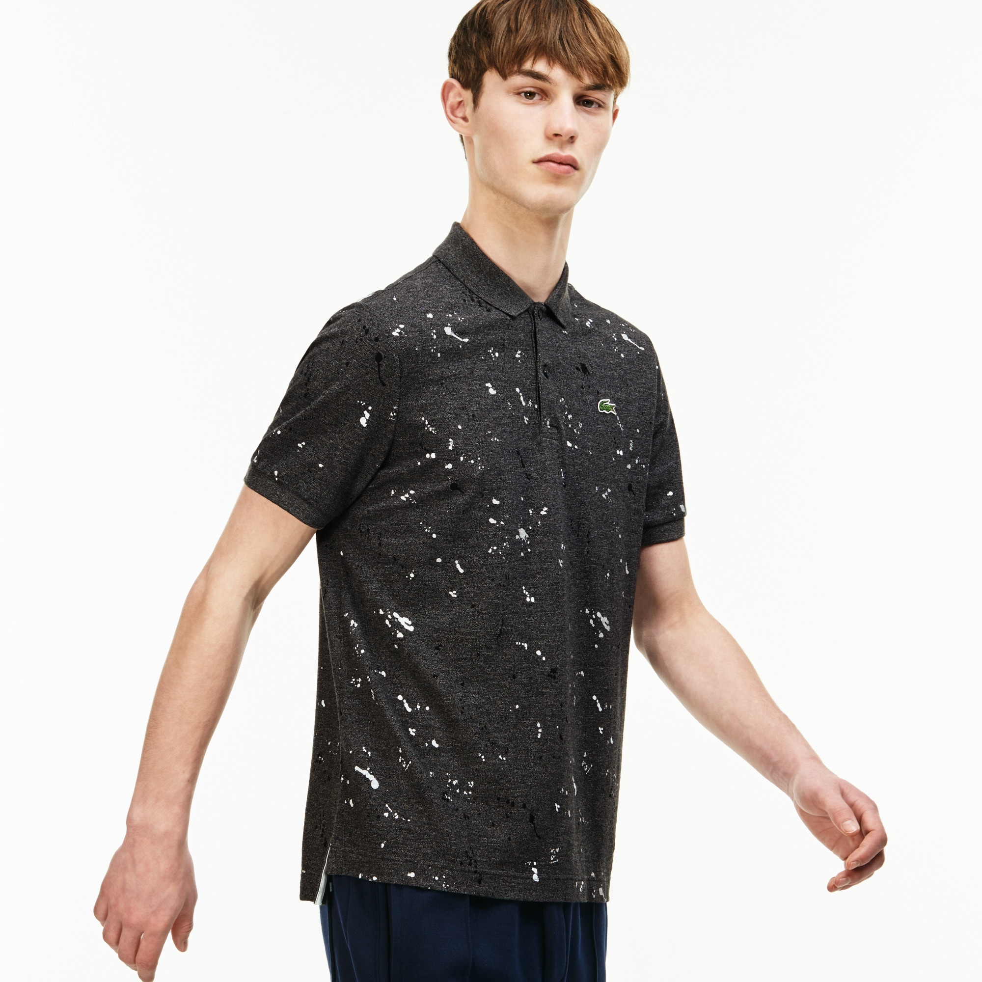Men's Lacoste LIVE Regular Fit Speckled Print Mini Piqué Polo