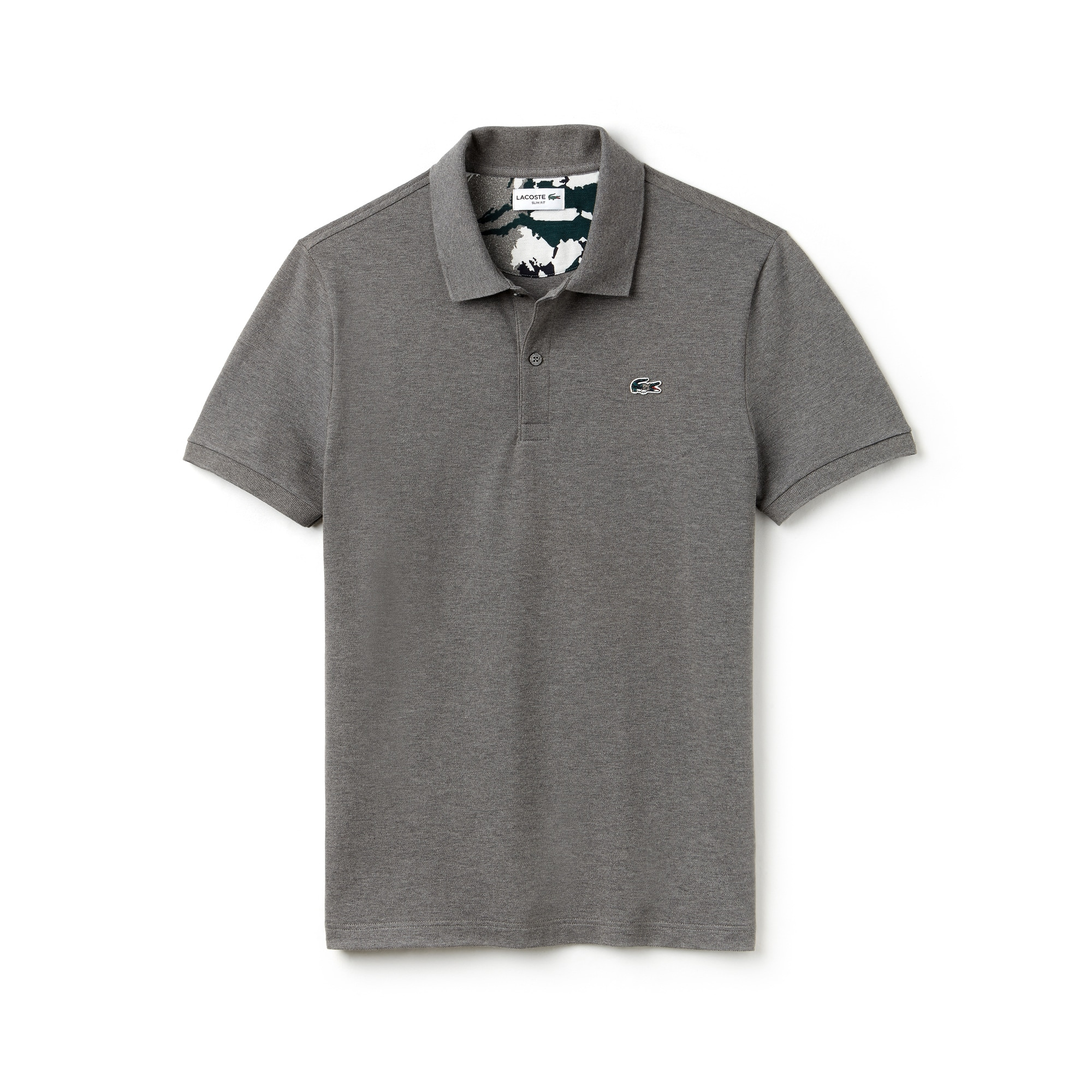 Mens 라코스테 Lacoste Slim Fit Stretch Mini Pique Polo,stone grey