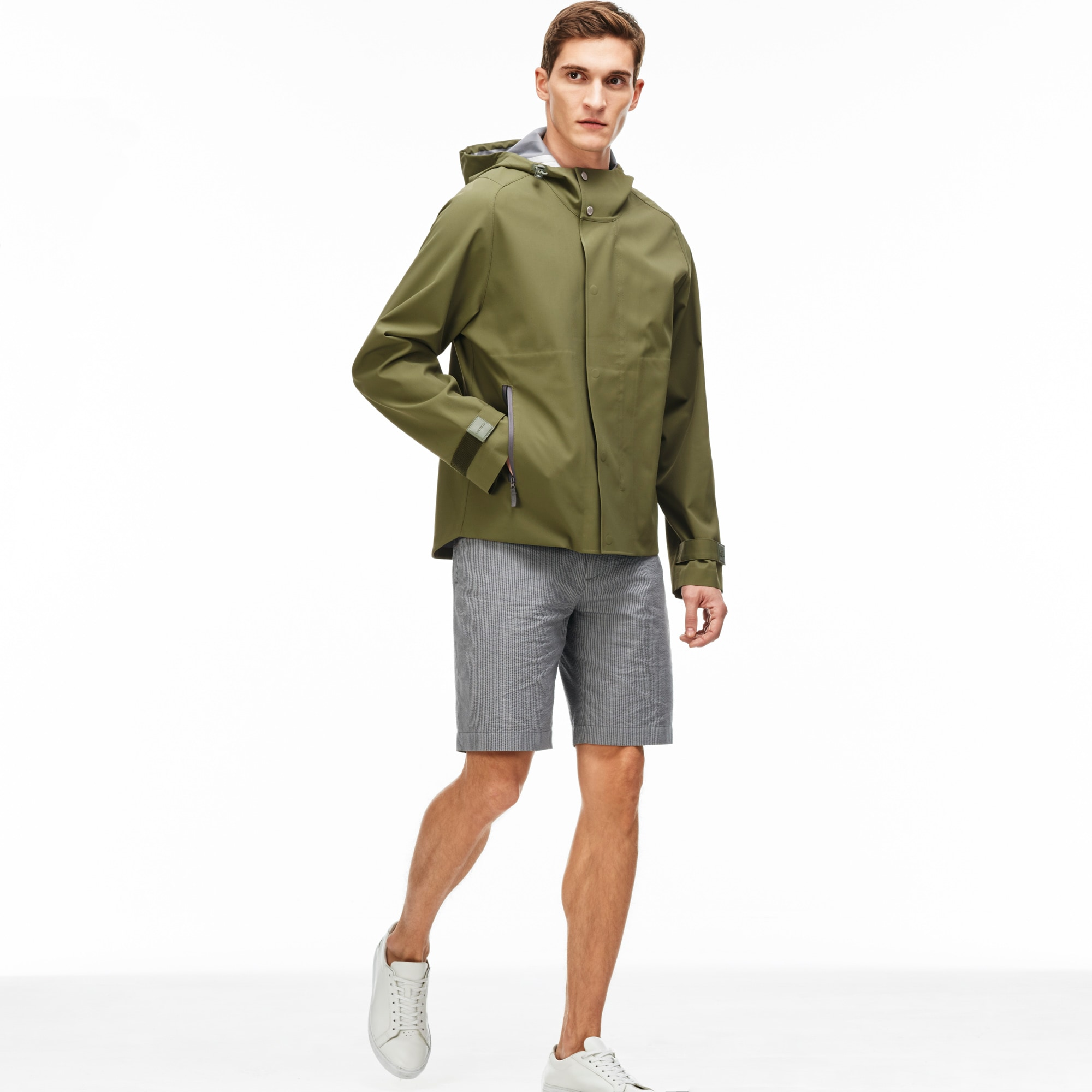 Men's Water-Resistant Nylon Hooded Parka