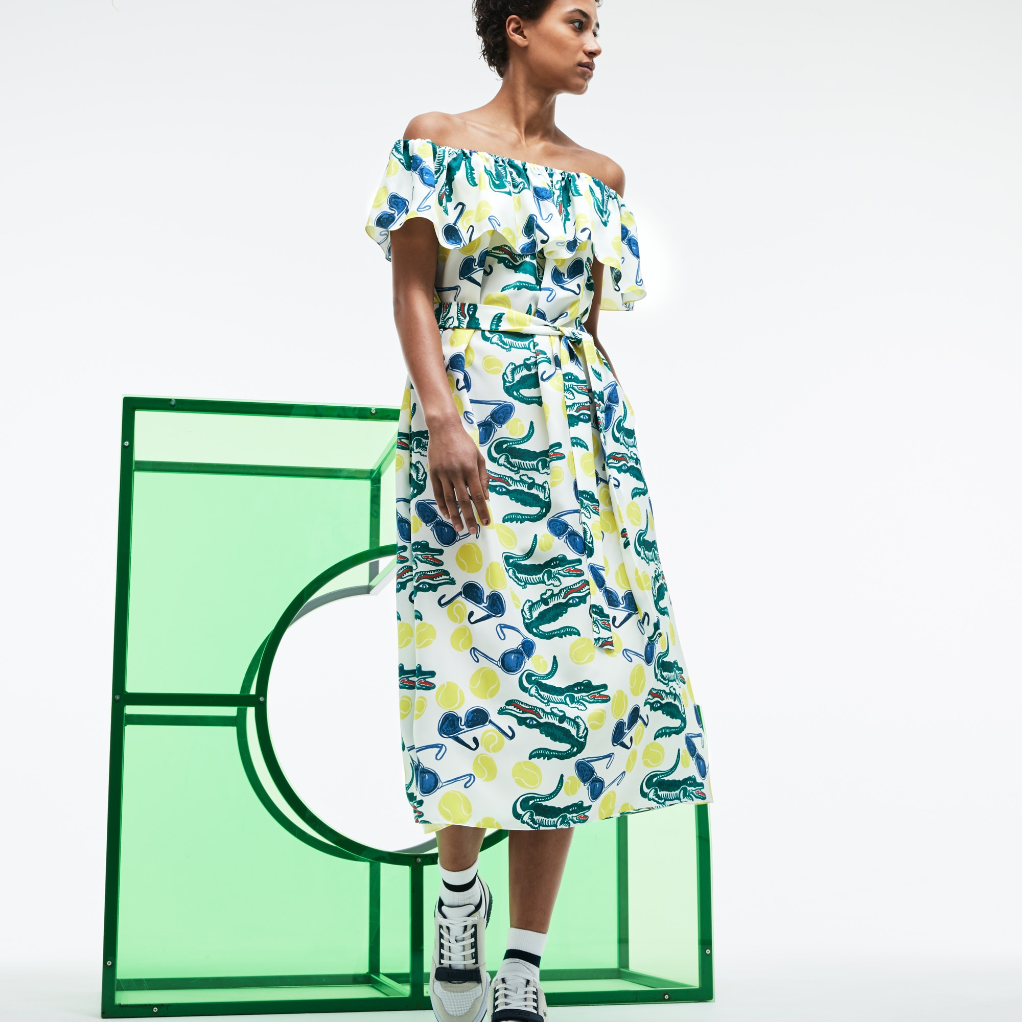 Women's Fashion Show MM Collab Print Knit Flounced Bustier Dress