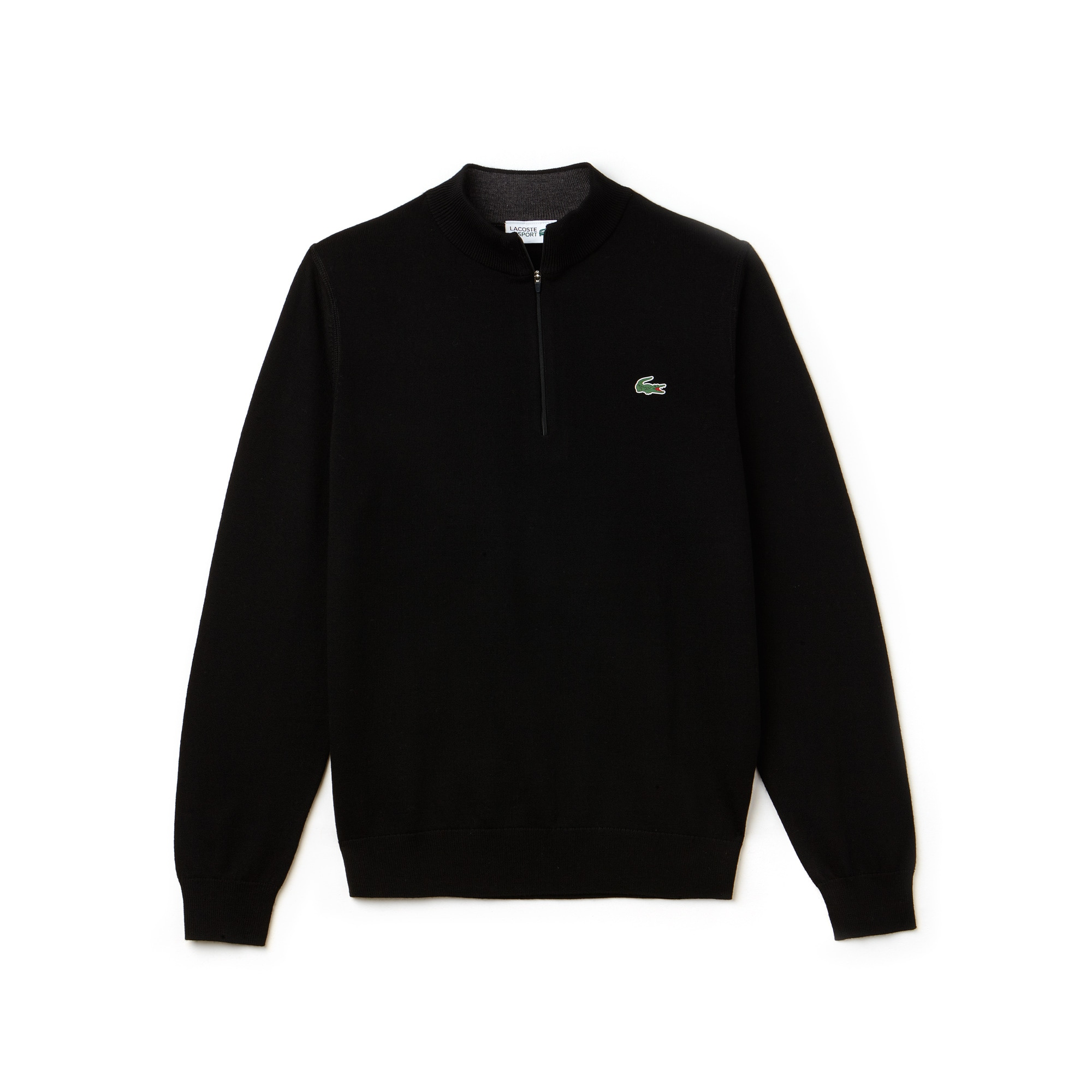 Men's Sport Zip Stand Up Neck Wool Jersey Golf Sweater by Lacoste