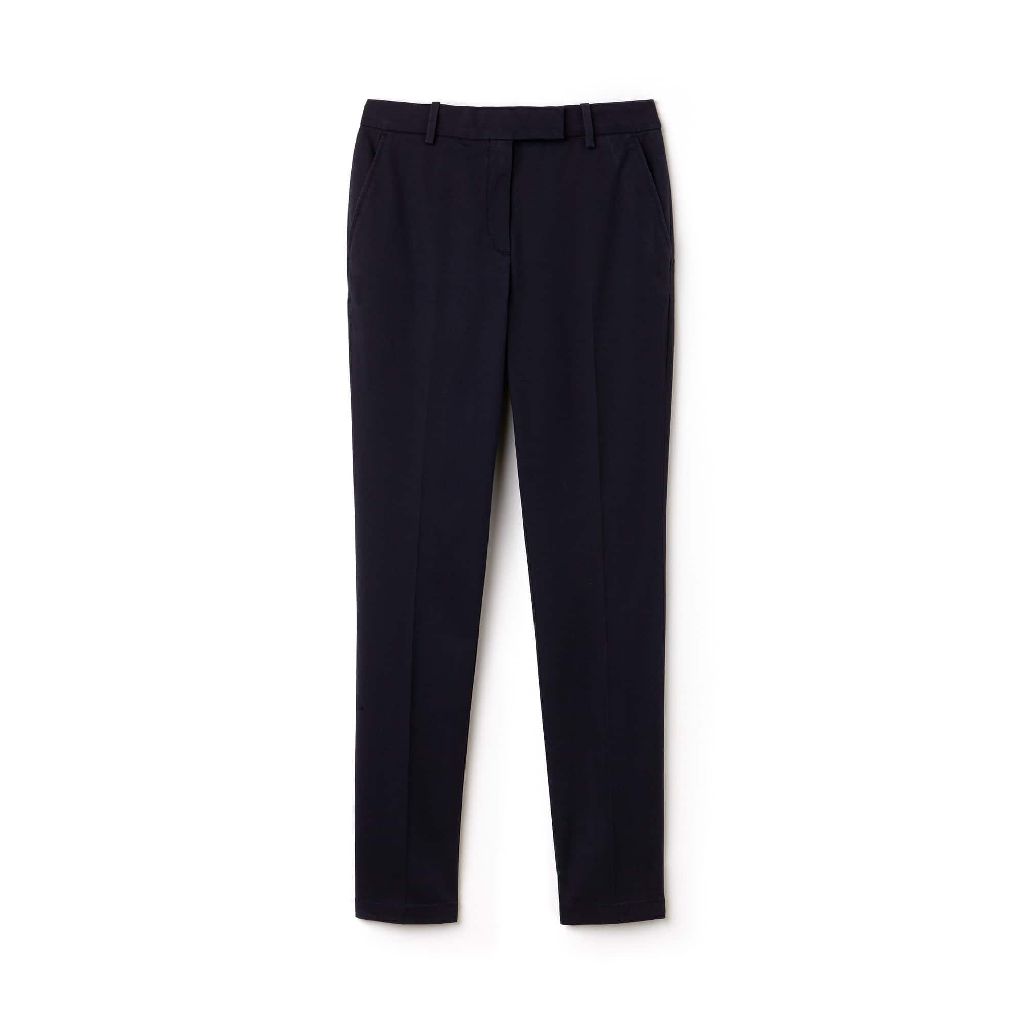 라코스테 Lacoste Womens Regular Fit Stretch Cotton Gabardine Chino Pants,Navy Blue