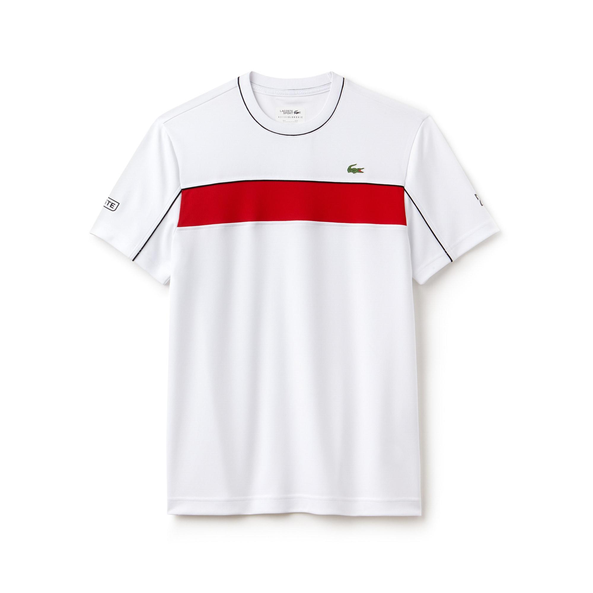 라코스테 스포츠 반팔 티셔츠 Lacoste Mens SPORT Pique T-Shirt - Novak Djokovic Collection,white/red-black