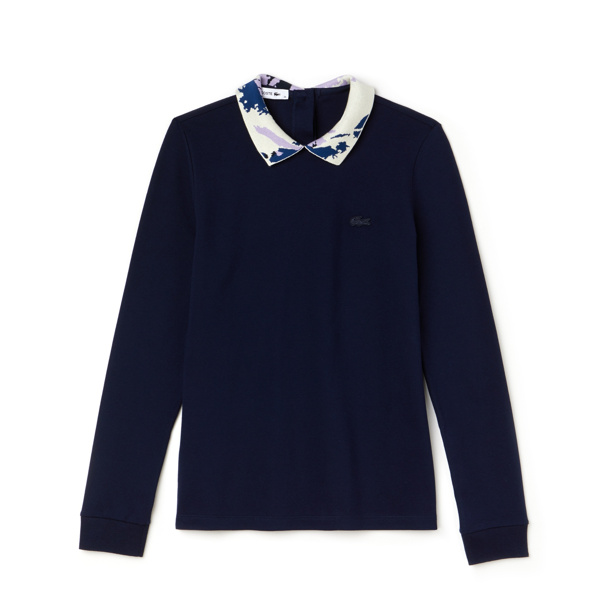 Women's Jacquard Collar Stretch Mini Piqué Polo